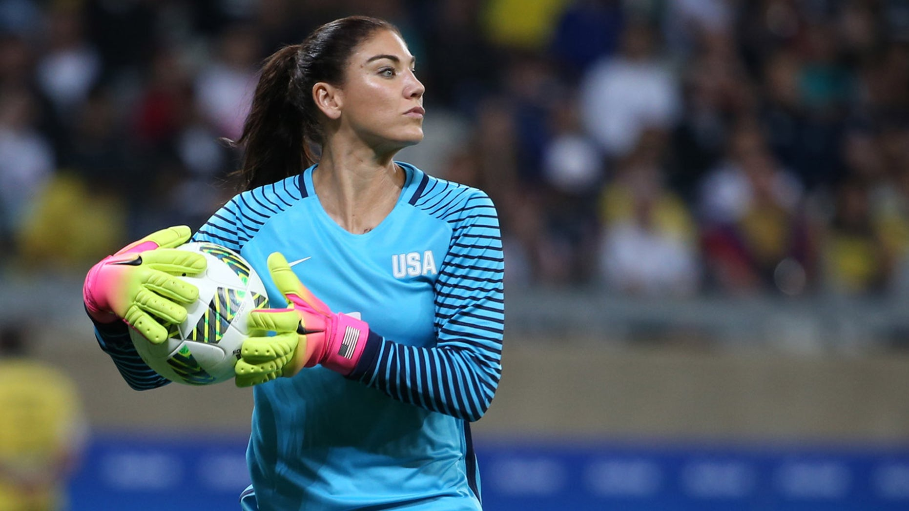 United States goalkeeper Hope Solo takes the ball during a women's Olympic football tournament match against New Zealand at the Mineirao stadium in Belo Horizonte, Brazil, Wednesday, Aug. 3, 2016. (AP Photo/Eugenio Savio)