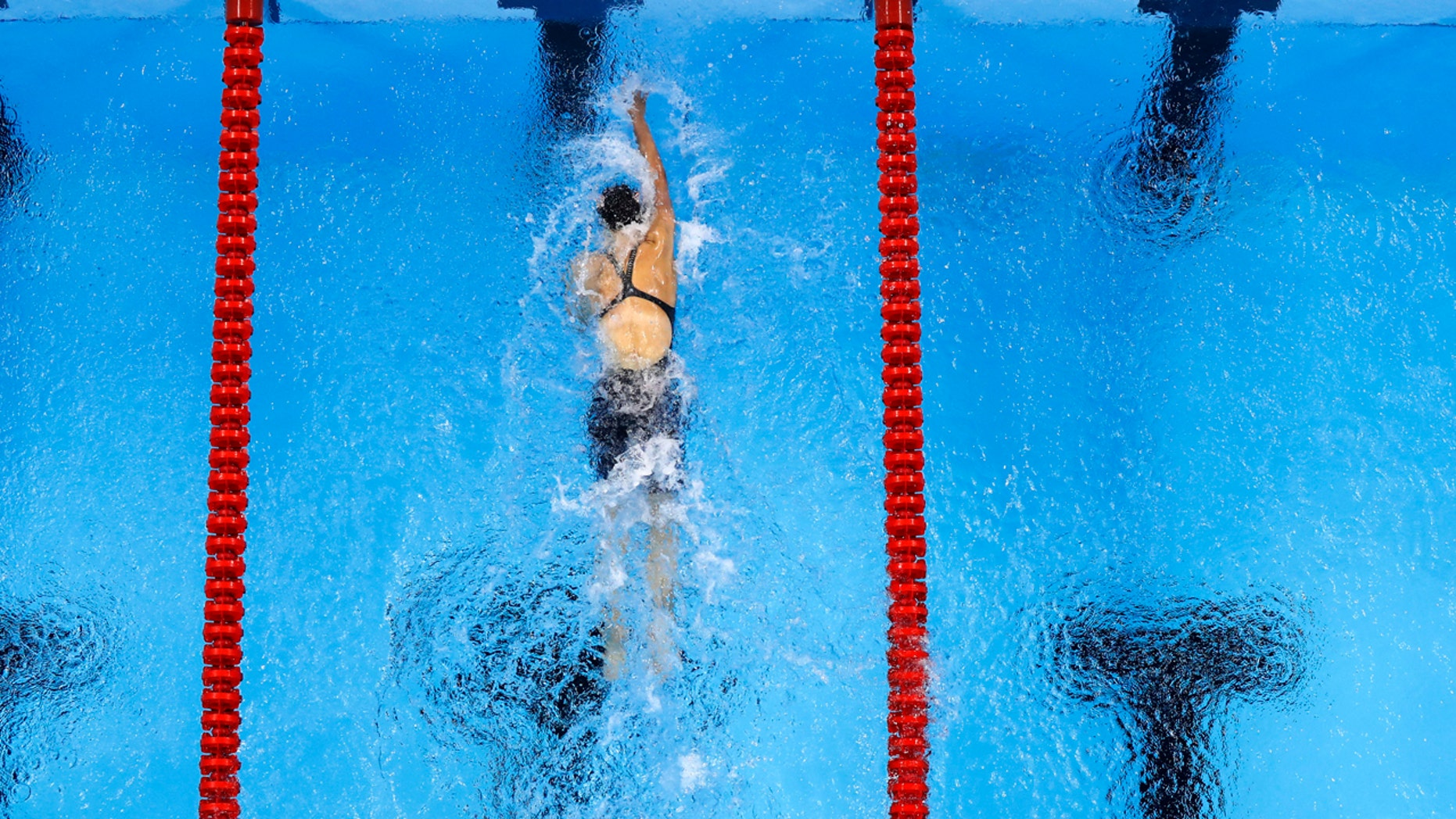 Aug. 12, 2016: United States' Katie Ledecky heads to the wall for a world record in the 800 meter freestyle finals during the swimming competitions at the 2016 Summer Olympics in Rio de Janeiro, Brazil.