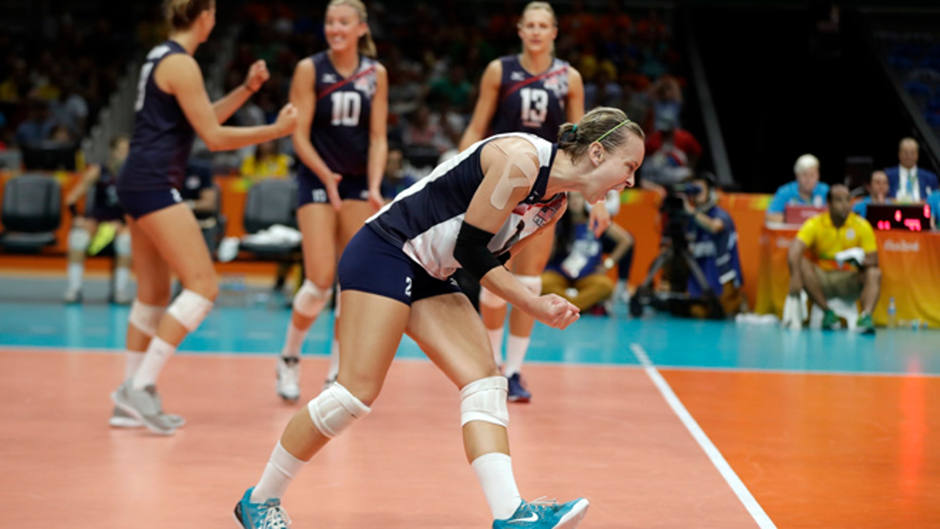 United States' Kayla Banwarth celebrates during a Women's preliminary volleyball match against the Netherlands at the 2016 Summer Olympics in Rio de Janeiro, Brazil, Monday, Aug. 8, 2016.