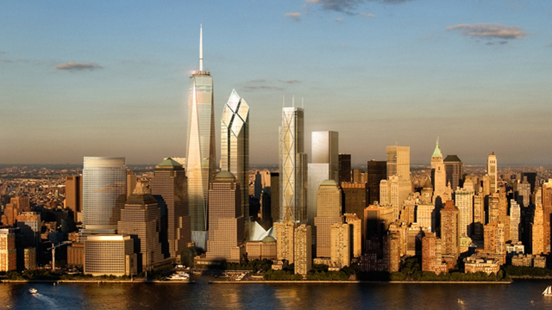 An artist's rendering of the new World Trade Center, as seen from the Hudson River.