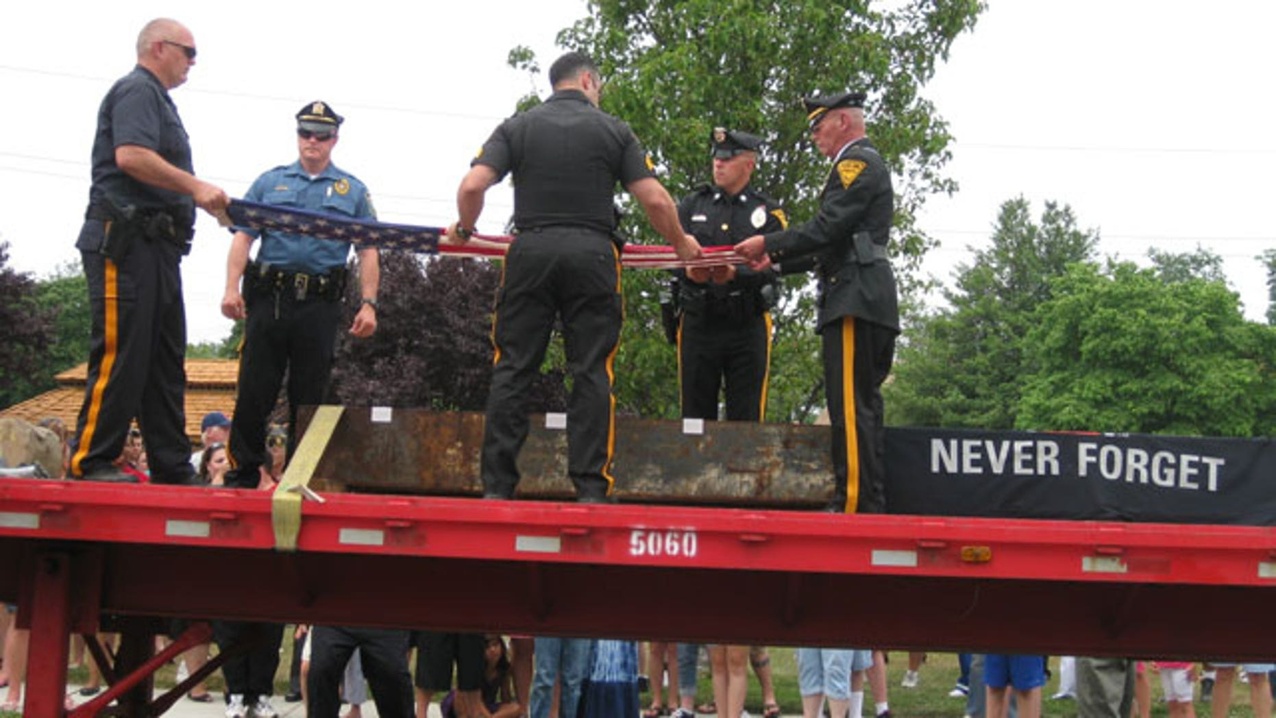 A steel memorial from a piece of the world trade center was given by the Port Authority of New York and New Jersey to Brooklawn, N.J.