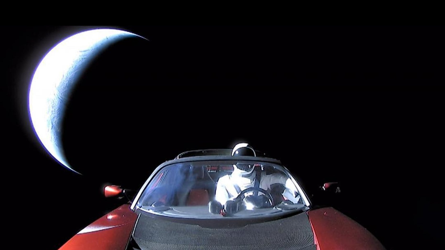"""""""Last pic of Starman in Roadster enroute to Mars orbit and then the Asteroid Belt,"""" Elon Musk posts on his Instagram."""