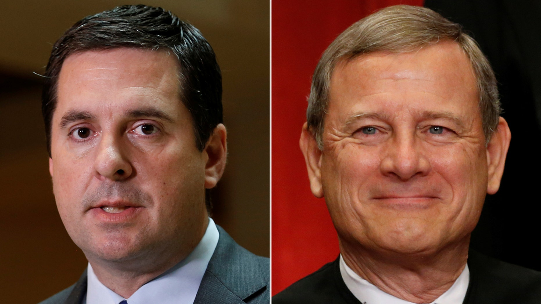 House Intelligence Committee Chairman Devin Nunes, left, has said the panel is mulling over the idea of inviting Chief Justice John Roberts to testify before Congress.