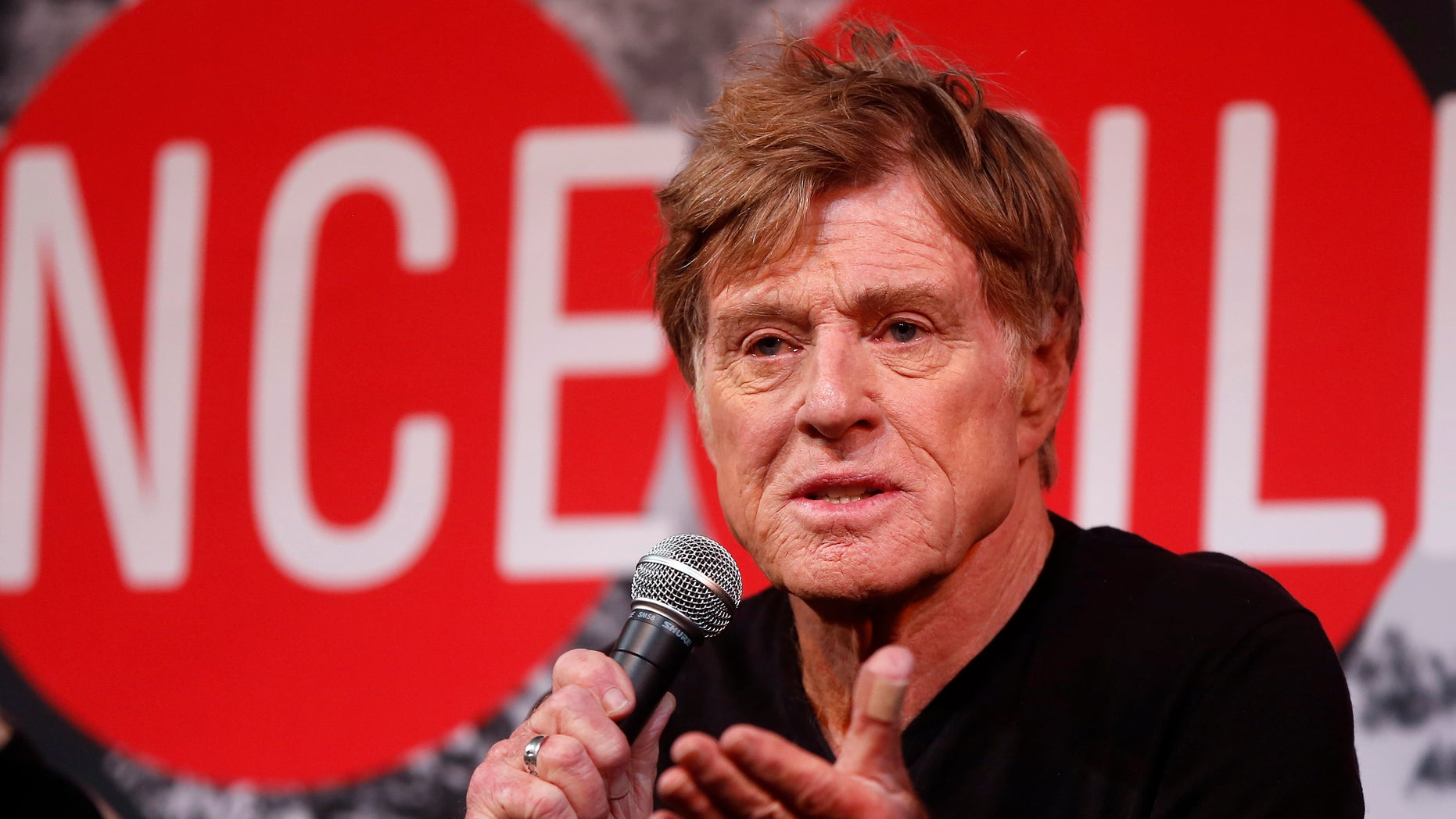 January 16, 2014. Robert Redford addresses the media at an opening day news conference for the Sundance Film Festival at the Egyptian Theatre in Park City, Utah.