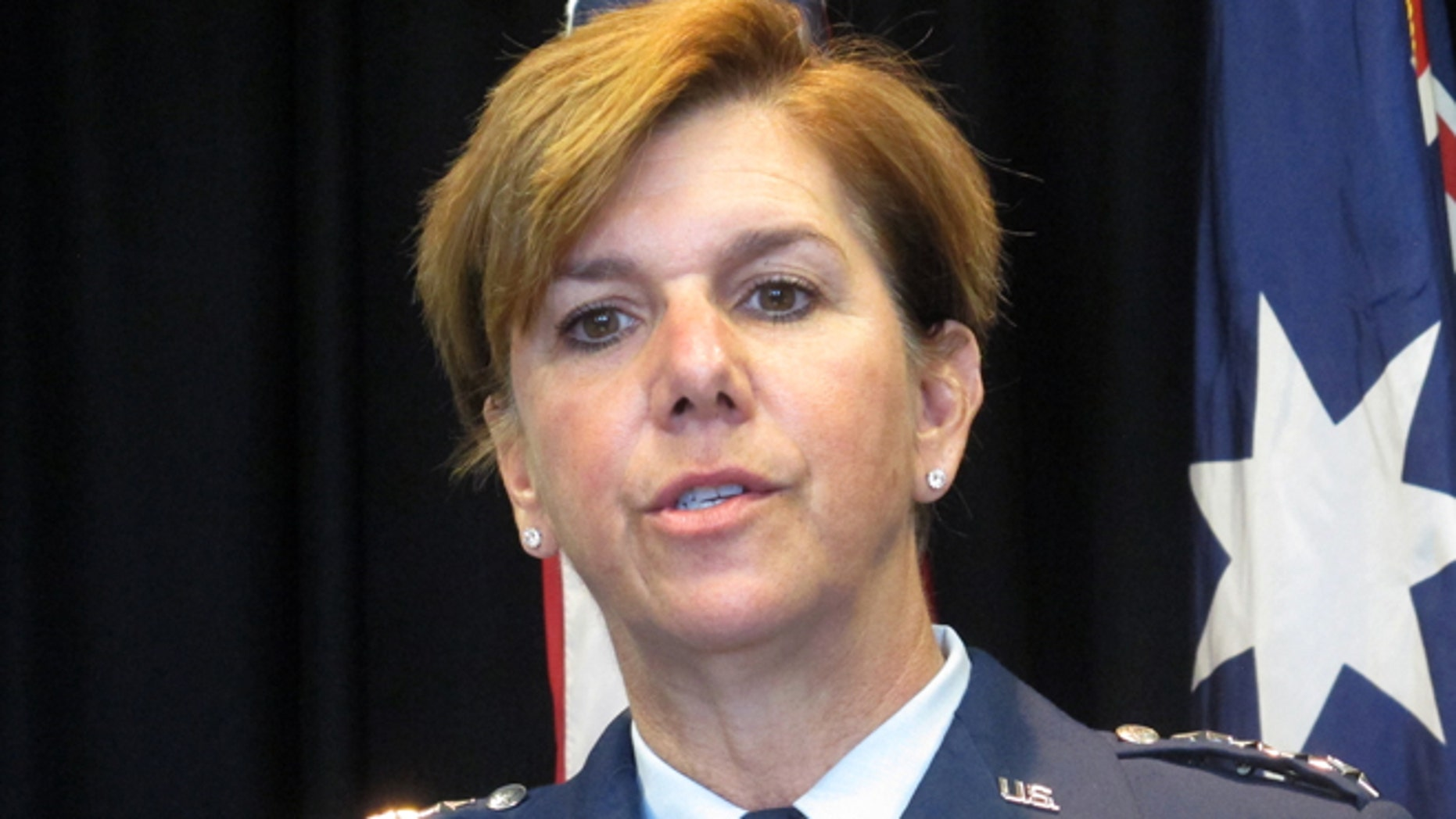 Tuesday, March 8, 2016: Gen. Lori Robinson, the commander of the Pacific Air Forces, talks to reporters at the U.S. Embassy in Canberra, Australia.
