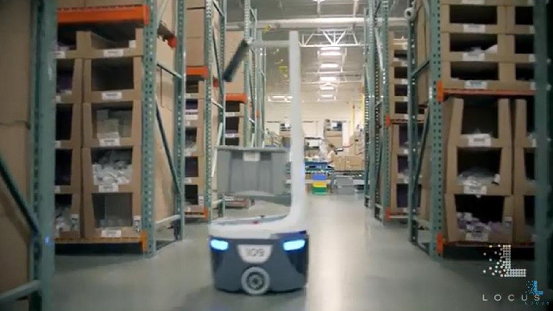 (Screenshot from Locus Robotics Autonomous Robots YouTube video)