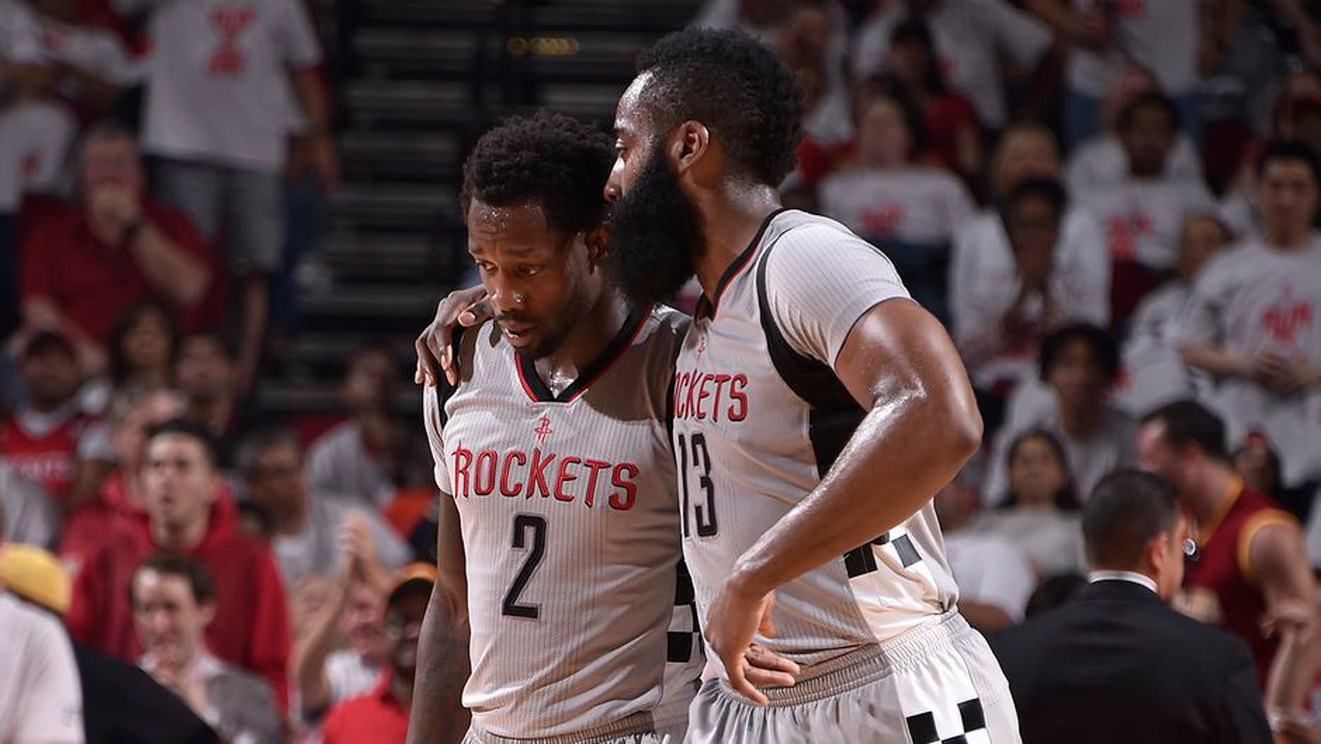 HOUSTON, TX - MAY 7: Patrick Beverley #2 and James Harden #13 of the Houston Rockets talk during the game against the San Antonio Spurs in Game Four of the Western Conference Semifinals of the 2017 NBA Playoffs on May 7, 2017 at the Toyota Center in Houston, Texas. NOTE TO USER: User expressly acknowledges and agrees that, by downloading and or using this photograph, User is consenting to the terms and conditions of the Getty Images License Agreement. Mandatory Copyright Notice: Copyright 2017 NBAE (Photo by Bill Baptist/NBAE via Getty Images)