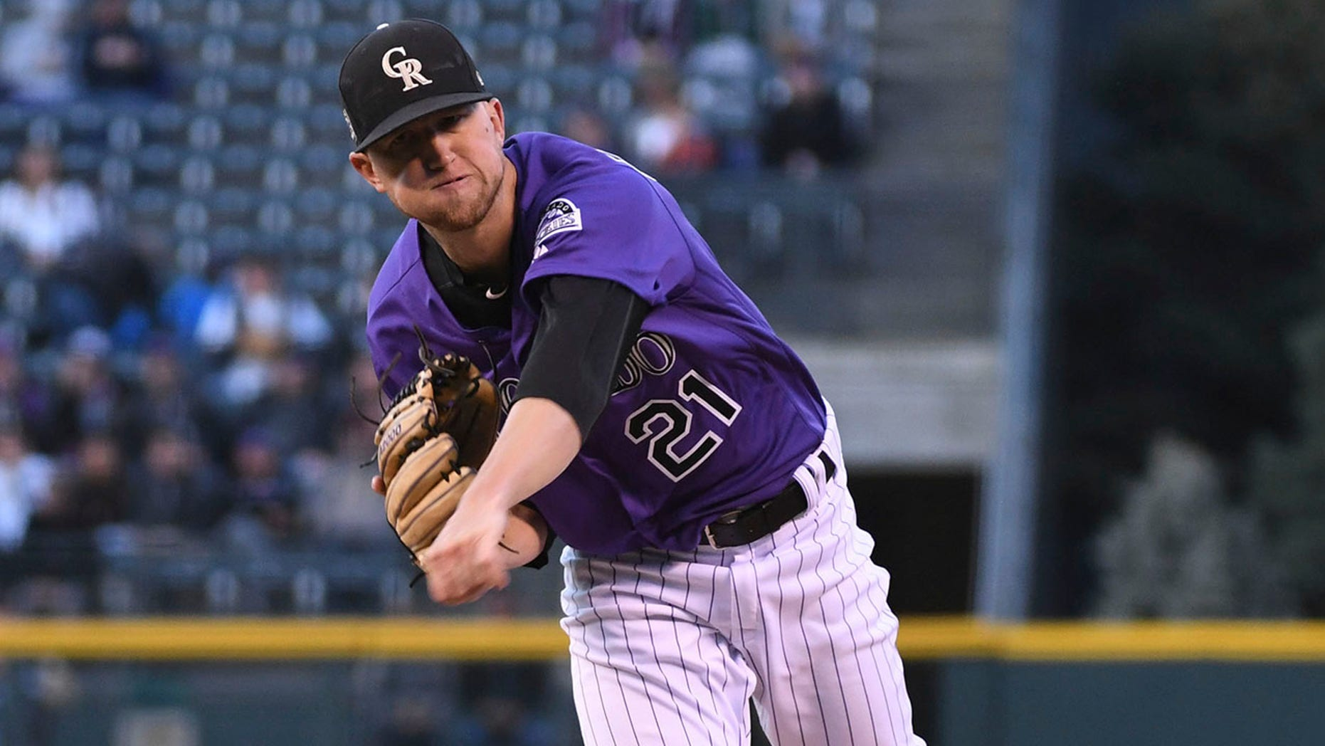Colorado Rockies starting pitcher Kyle Freeland throws to a Washington Nationals batter during the first inning of a baseball game Friday, Sept. 28, 2018, in Denver. (AP Photo/John Leyba)