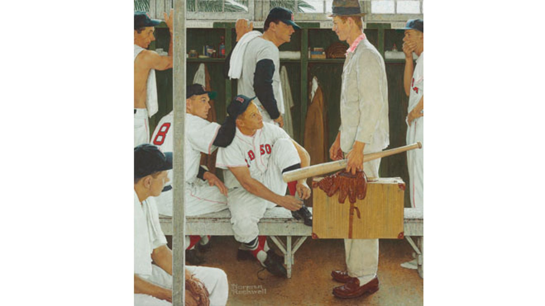 """This photograph of a 1957 Norman Rockwell painting, """"The Rookie (Red Sox Locker Room)"""" was provided Tuesday by Christie's auction house in New York. The painting, showing, pitcher Frank Sullivan, right fielder Jackie Jensen and catcher Sammy White, second baseman Billy Goodman and Hall of Famer Ted Williams, will be auctioned on May 22, with a pre-sale estimate of $20 million to $30 million."""
