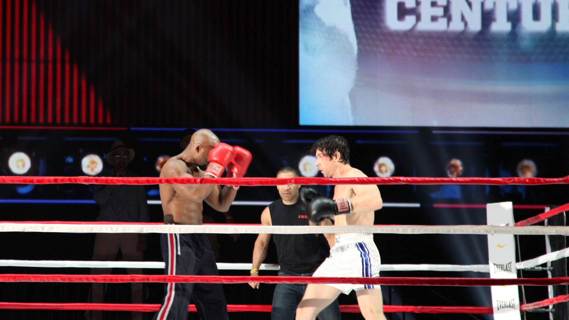 """June 6, 2014. Andy Karl, right, and Terence Archie perform a number from """"Rocky,"""" during a rehearsal for the Tony Awards at Radio City Music Hall in New York."""