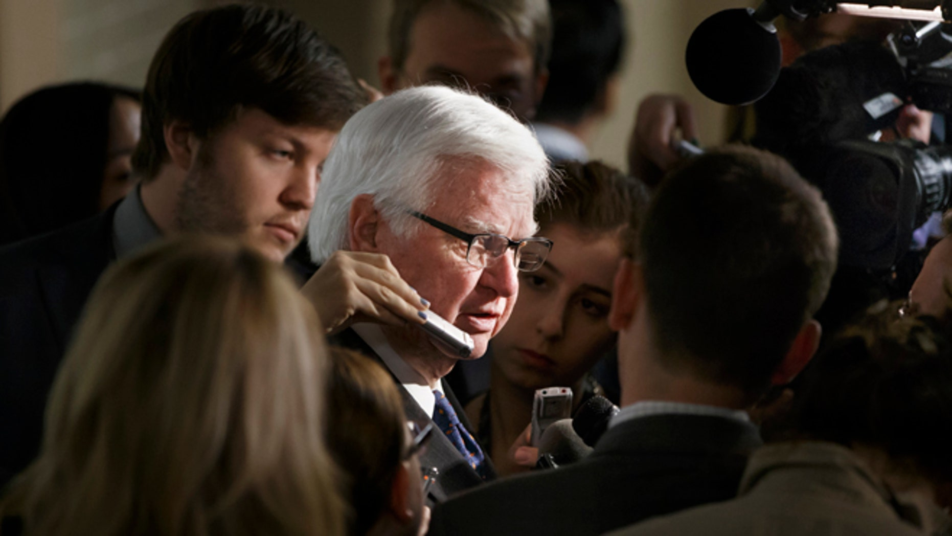 Jan. 9, 2015: House Appropriations Committee Chairman Rep. Hal Rogers, R-Ky., is surrounded by reporters on Capitol Hill following a closed-door meeting with House Republicans.