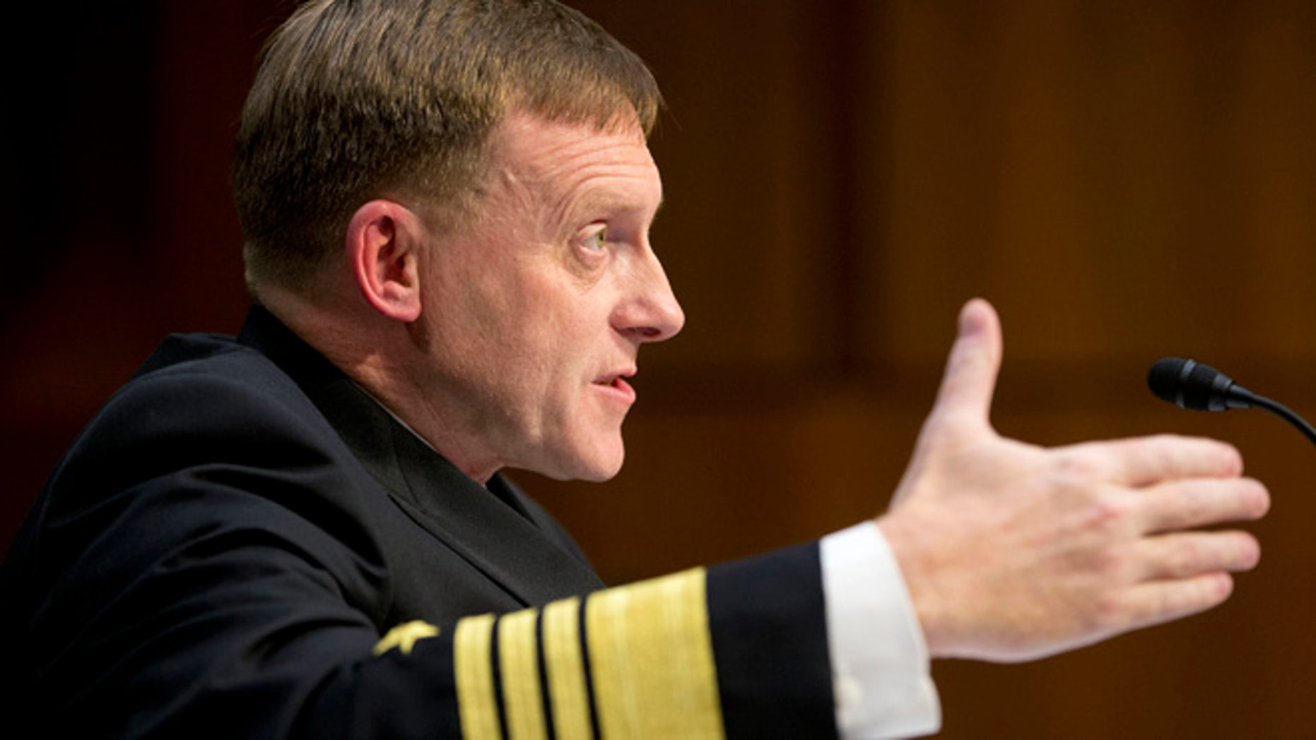 Sept. 24, 2015: Director of the National Security Agency (NSA) Adm. Michael Rogers testifies on Capitol Hill before the Senate Intelligence Committee. (AP)