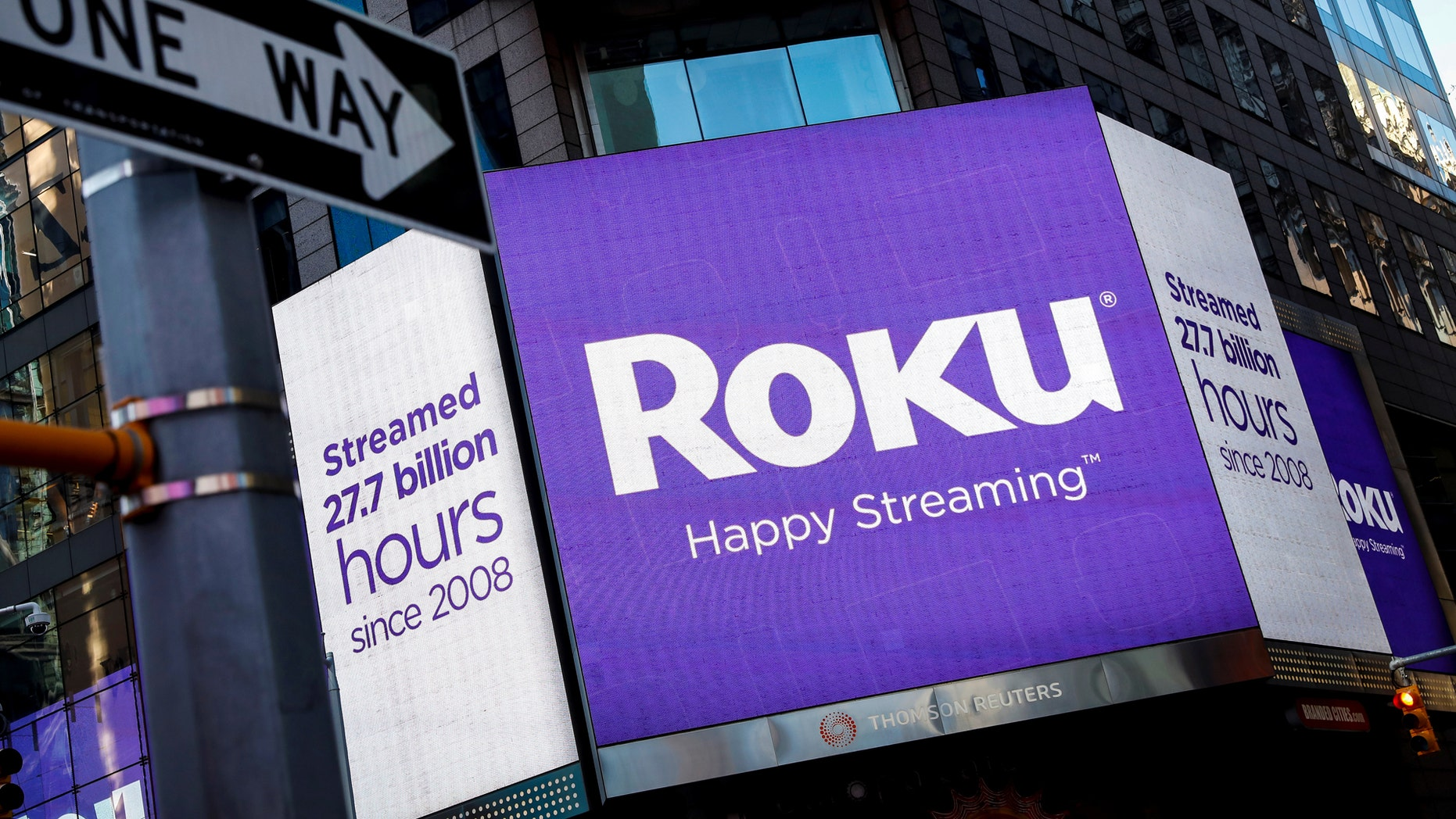 File photo: A video sign displays the logo for Roku Inc, a Fox-backed video streaming firm, in Times Square after the company's IPO at the Nasdaq Market in New York, U.S., September 28, 2017. (REUTERS/Brendan McDermid)