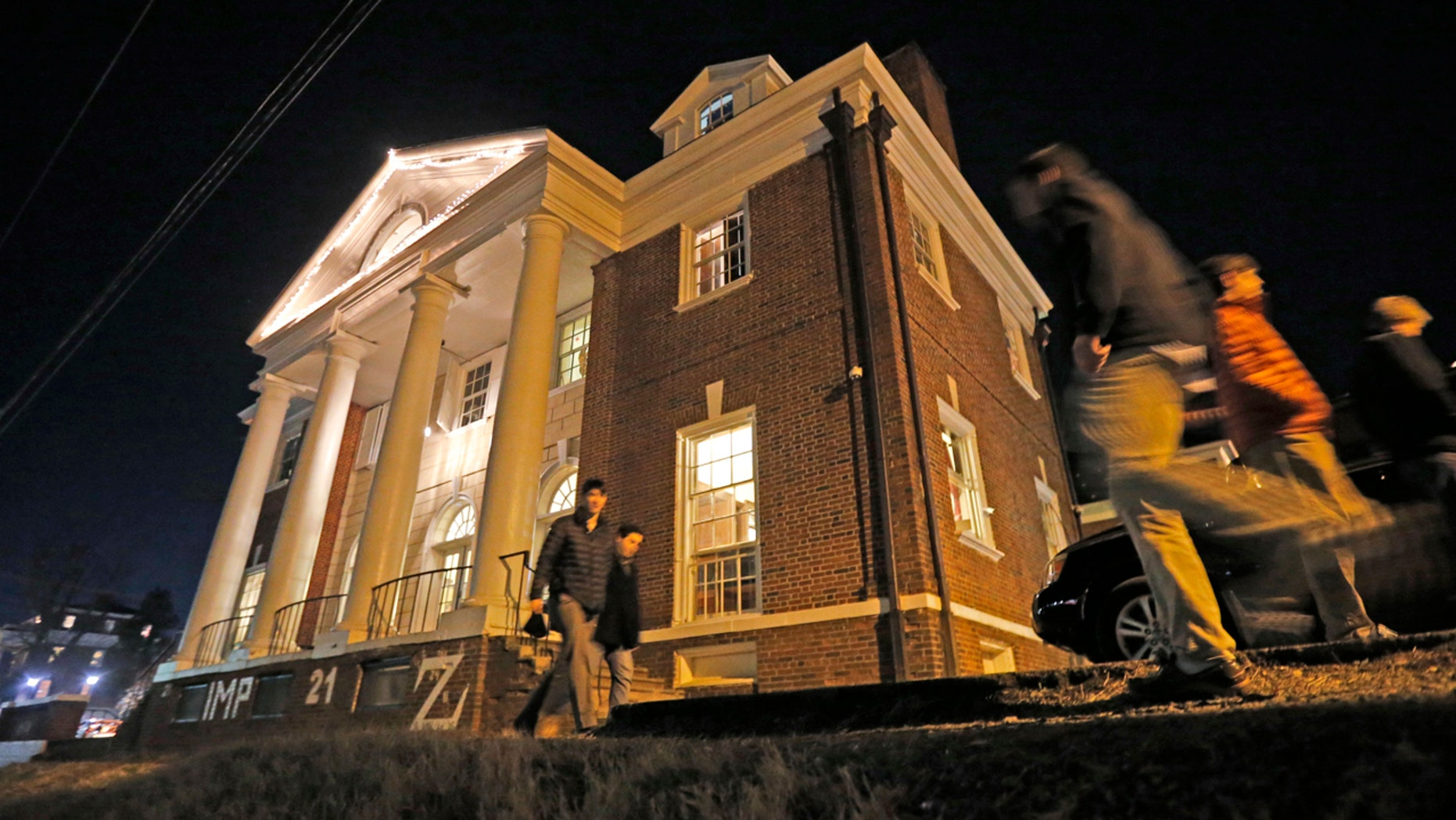 Jan. 15, 2015: Students participating in rush pass by the Phi Kappa Psi house at the University of Virginia in Charlottesville, Va.
