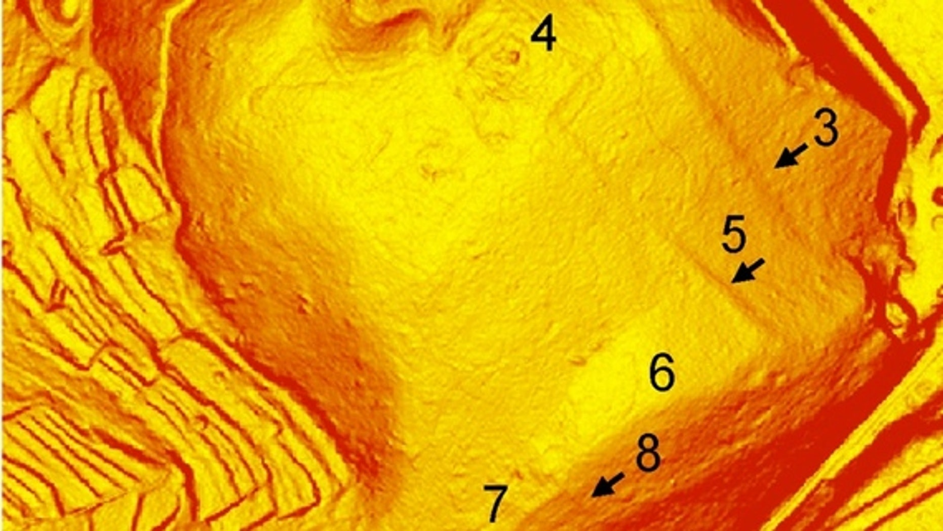 Lidar (the laser equivalent of radar) revealed the oldest known Roman military camp called San Rocco (C). Also shown are the Roman military camps Grociana piccola (A) and Montedoro (B). Scale bars: 100 m.