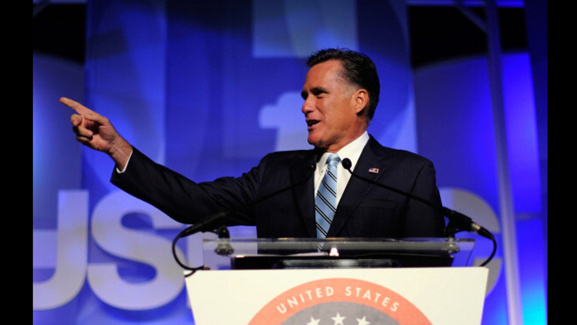 LOS ANGELES, CA - SEPTEMBER 17:  Republican presidential candidate, former Massachusetts Gov. Mitt Romney addresses the U.S. Hispanic Chamber of Commerce's 33rd annual national convention in Los Angeles, Calif.