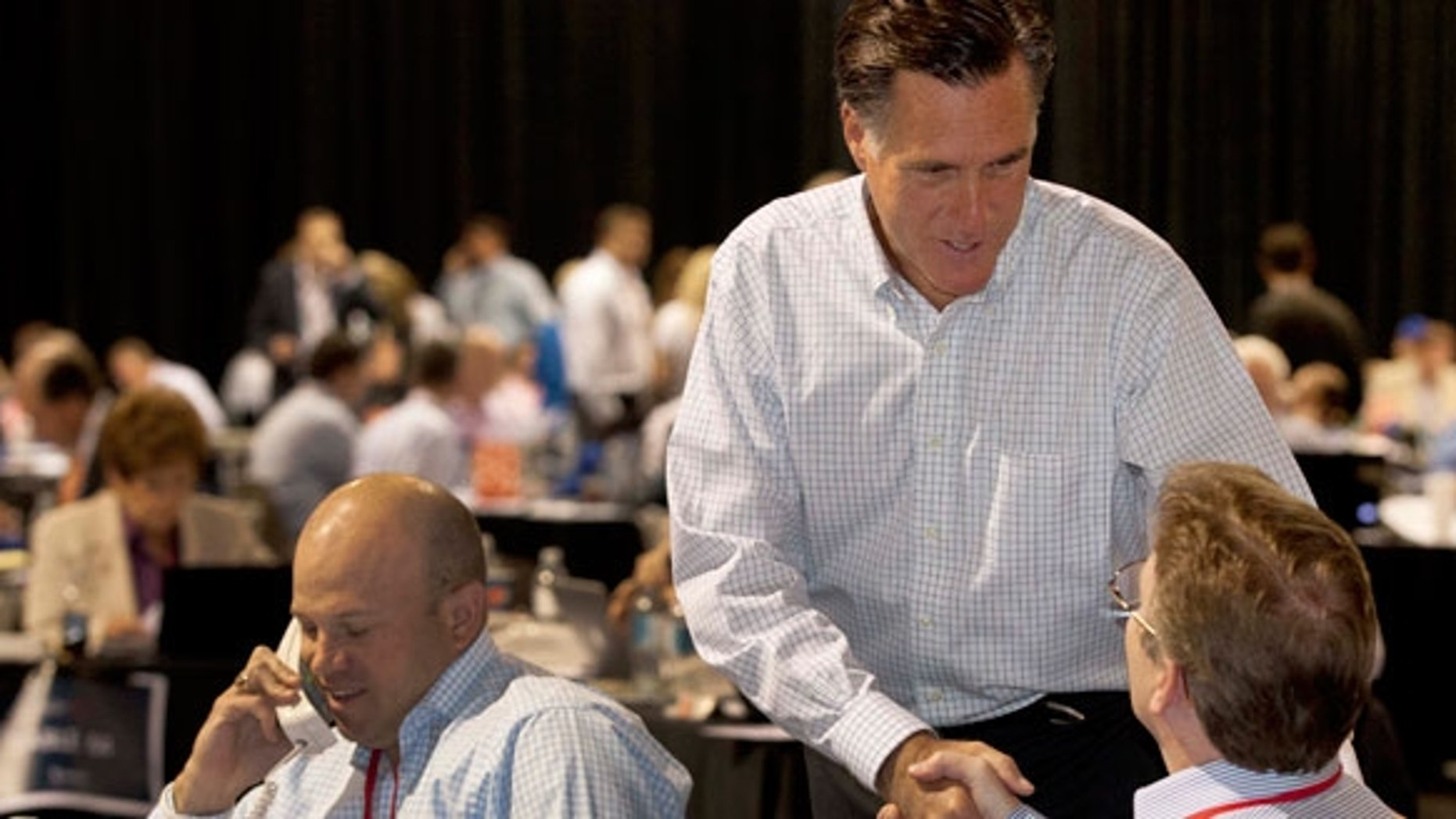 """Mitt Romney in Las Vegas May 16, 2011 during the """"National Call Day"""" fundraising event. (AP Photo)"""