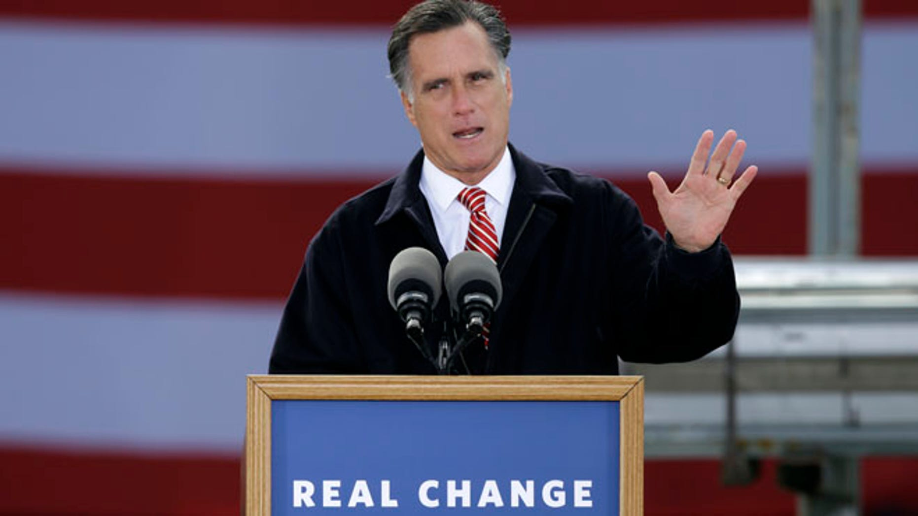 Oct. 26, 2012: Mitt Romney speaks about the economy during a campaign stop in Ames, Iowa.