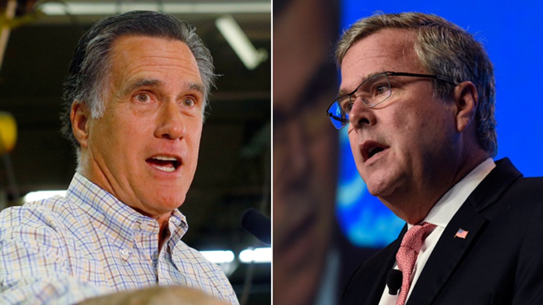 Oct. 15, 2014 file photo of former Republican presidential nominee Mitt Romney in New Hampshire and Nov. 20, 2014 file photo of former Florida Gov. Jeb Bush in Washington.
