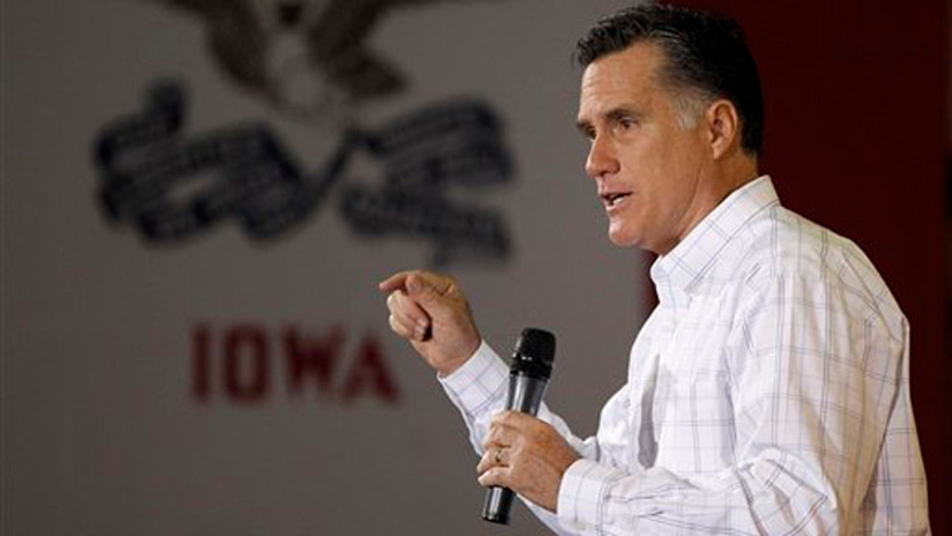 Dec. 16, 2011: Mitt Romney speaks during a rally at Missouri Valley Steel in Sioux City, Iowa.