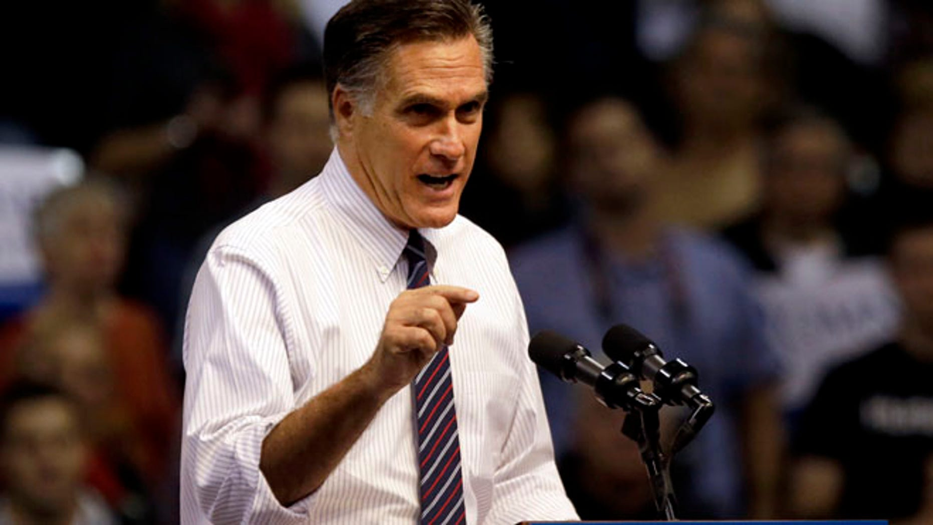 Nov. 5, 2012: Mitt Romney speaks at a campaign event at the Verizon Wireless Arena in Manchester, N.H.