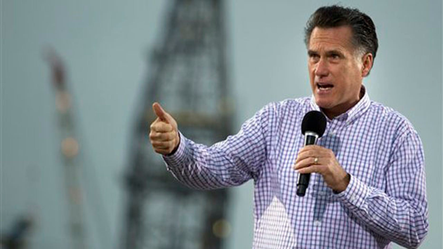 March 8, 2012: Mitt Romney speaks during a campaign stop at the Port of Pascagoula in Pascagoula, Miss.