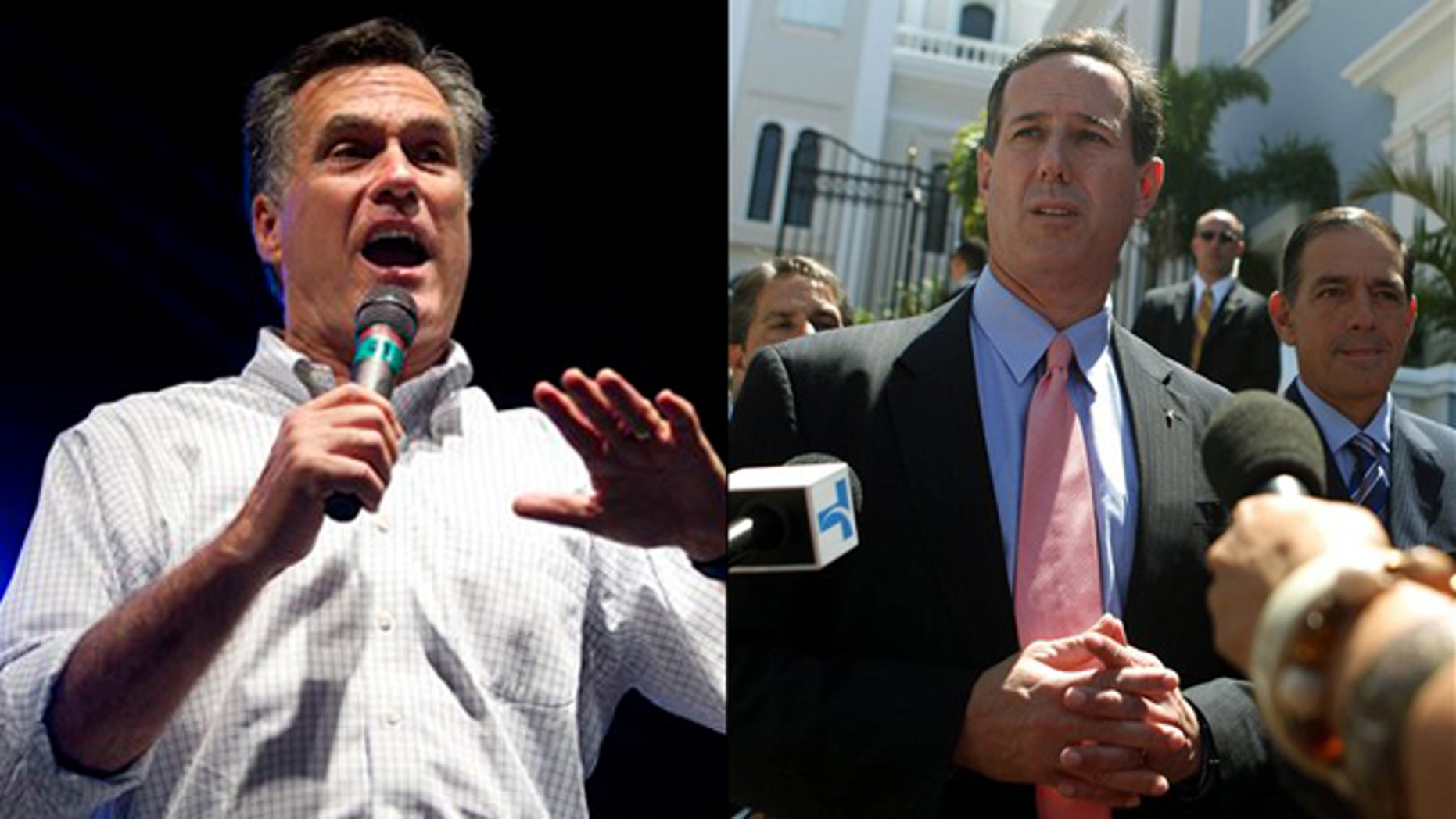 Mitt Romney, left, and Rick Santorum are shown campaigning in Puerto Rico.