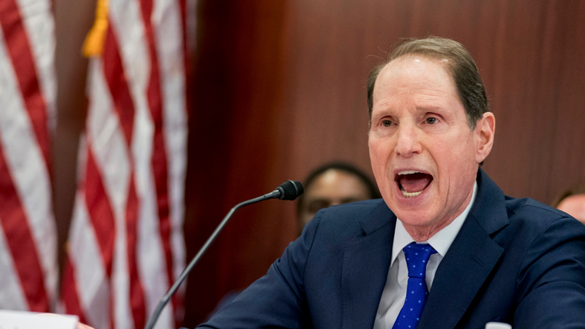 Sen. Ron Wyden, D-Ore., the top Democrat on the Senate Finance Committee speaks during a House and Senate conference after GOP leaders announced they have forged an agreement on a sweeping overhaul of the nation's tax laws, on Capitol Hill in Washington, Wednesday, Dec. 13, 2017. Democrats objected to the bill and asked that a final vote be delayed until Sen.-elect Doug Jones of Alabama is seated. (AP Photo/Andrew Harnik)