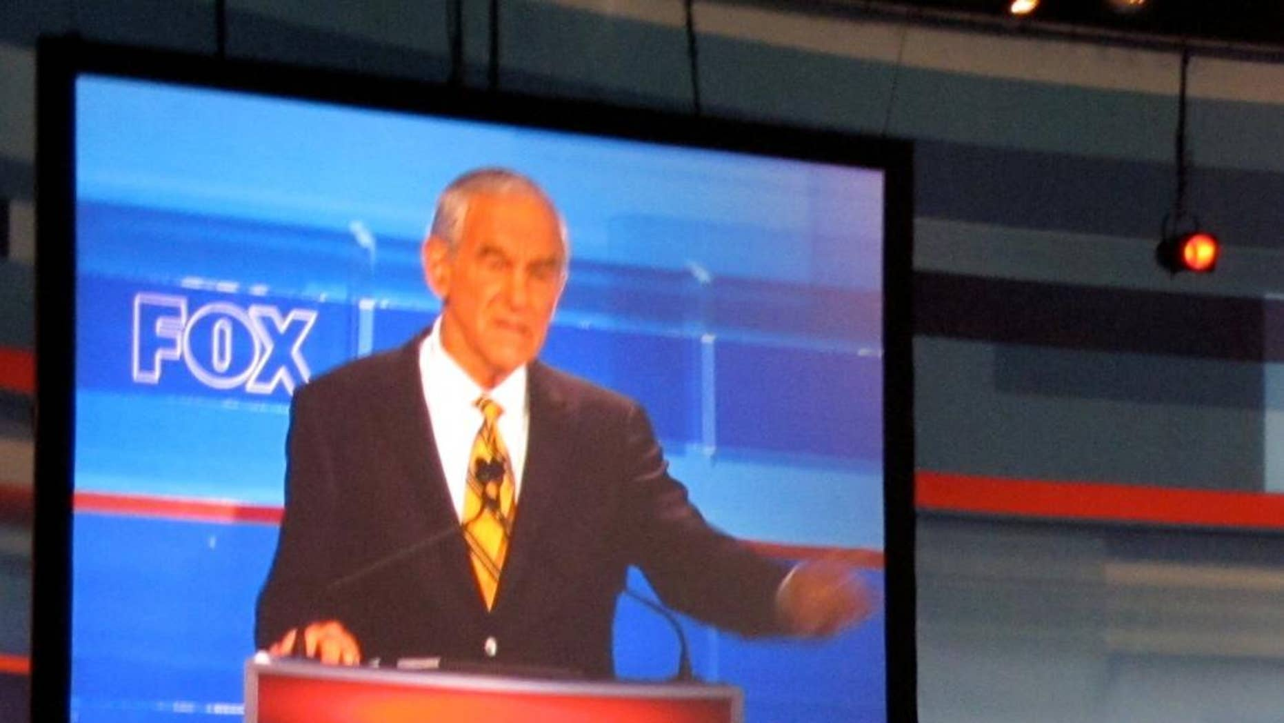 Texas Rep. Ron Paul gestures during a FOX News/South Carolina GOP debate Thursday, May 5 in Greenville. (Fox News Photo)
