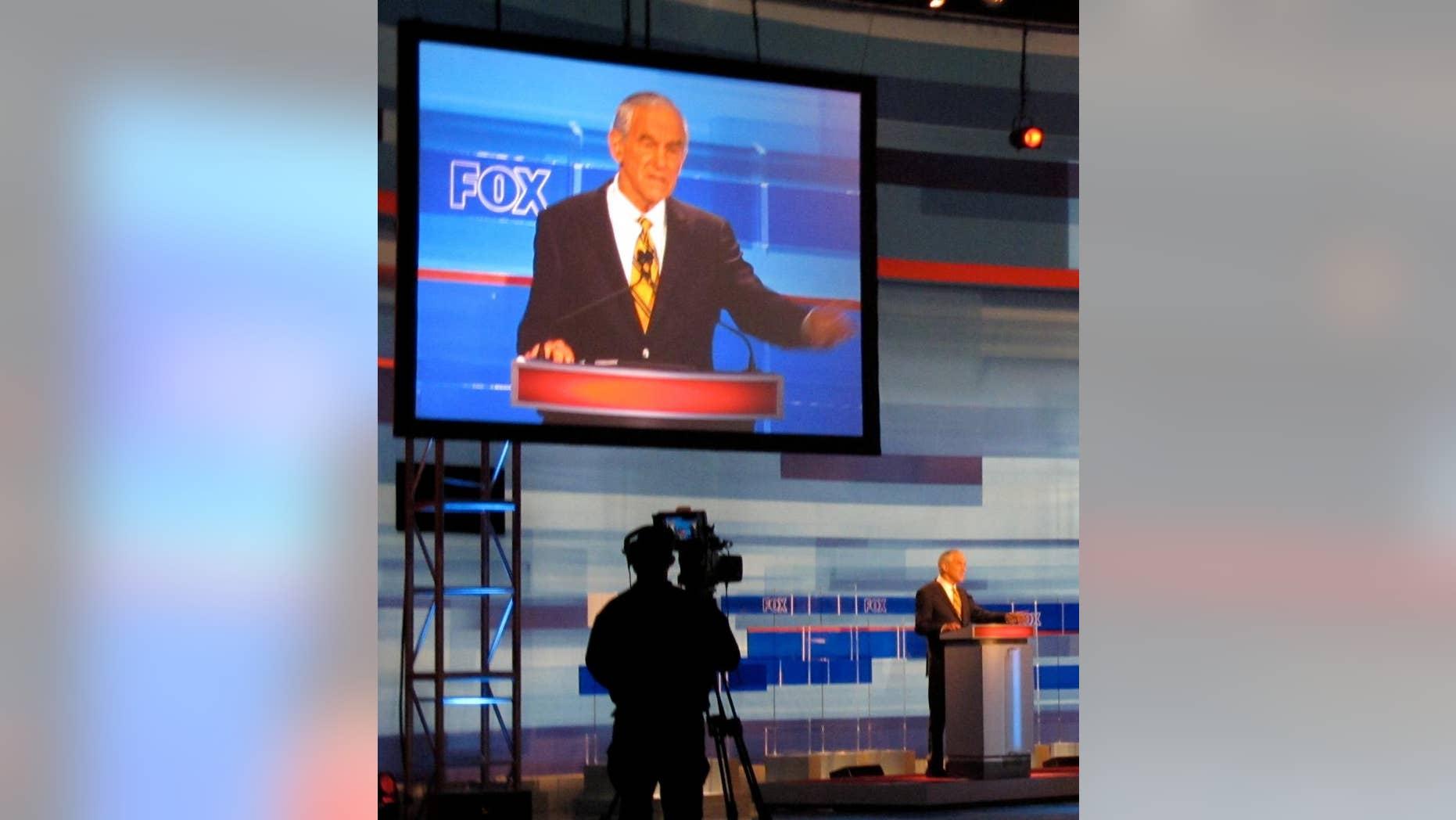 Texas Rep. Ron Paul gestures during a FOX News/South Carolina GOP debate Thursday, May 5 in Greenville. (Fox News Photo)