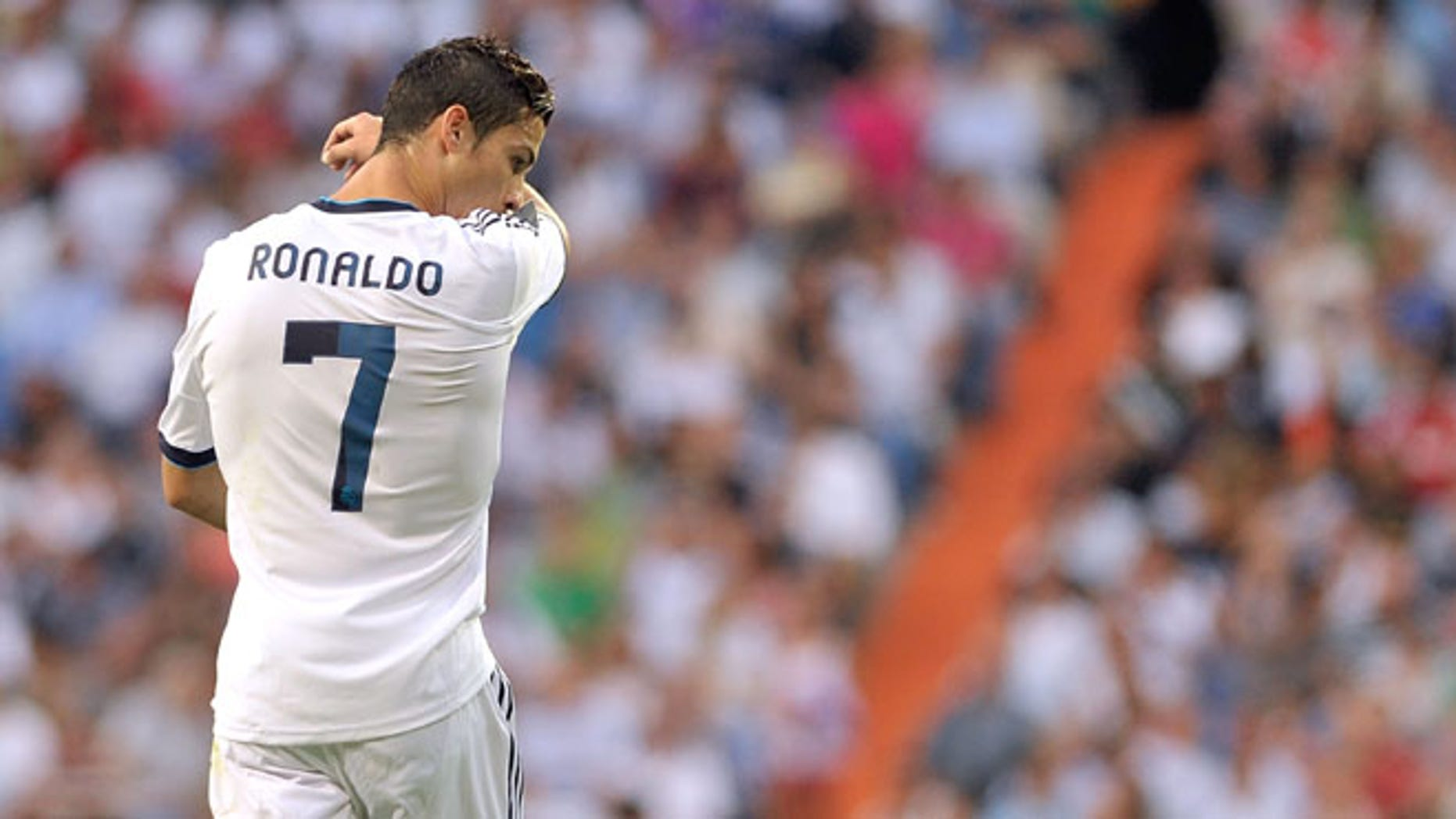 MADRID, SPAIN - SEPTEMBER 02: Cristiano Ronaldo of Real Madrid reacts during the La Liga match between Real Madrid and Granada at Estadio Santiago Bernabeu on September 2, 2012 in Madrid, Spain.  (Photo by Gonzalo Arroyo Moreno/Getty Images)