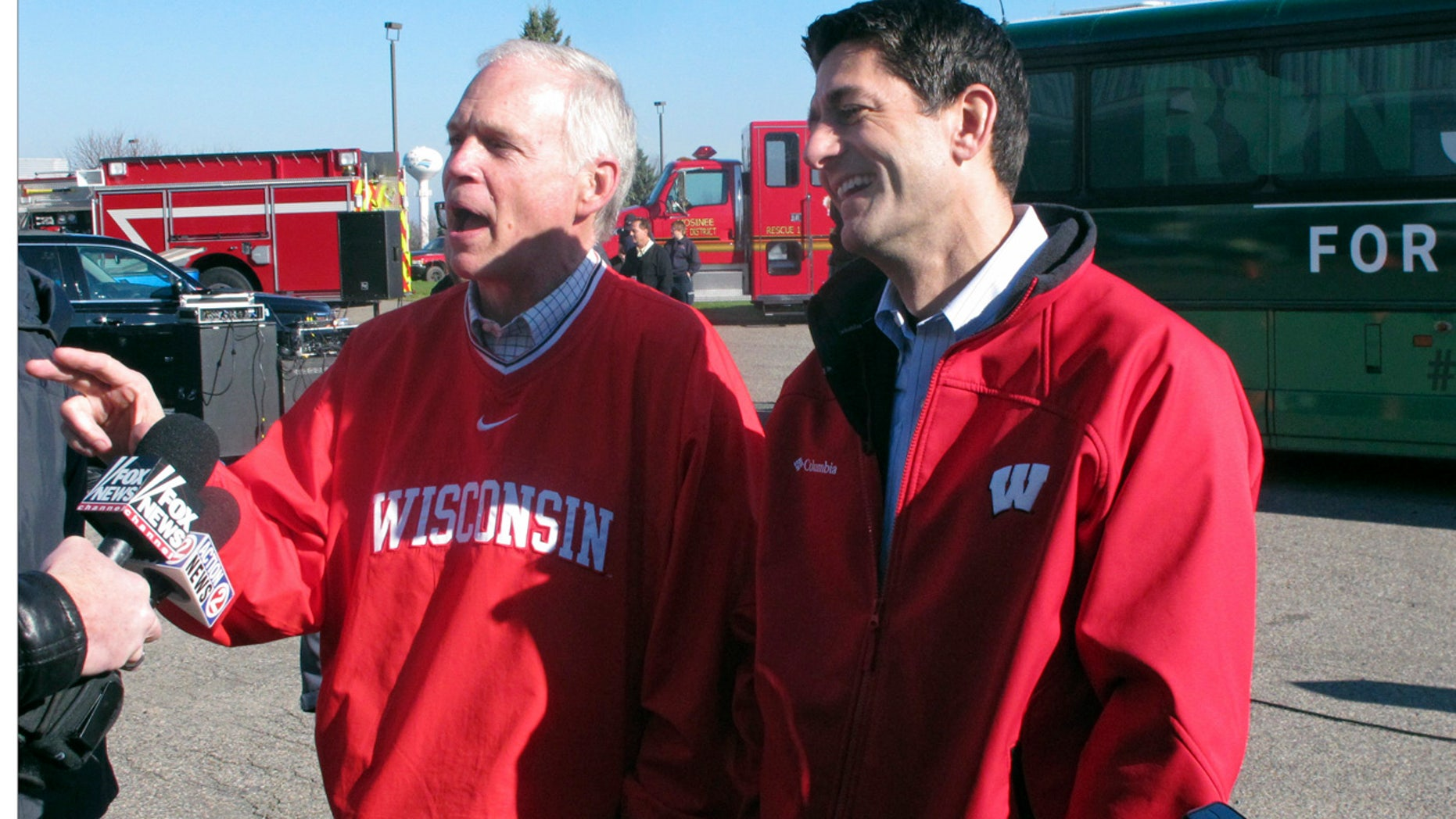 Nov. 4, 2016: U.S. House Speaker Paul Ryan, right, and Republican Sen. Ron Johnson, of Wisconsin, meet with reporters as they campaign together in Mosinee, Wis.