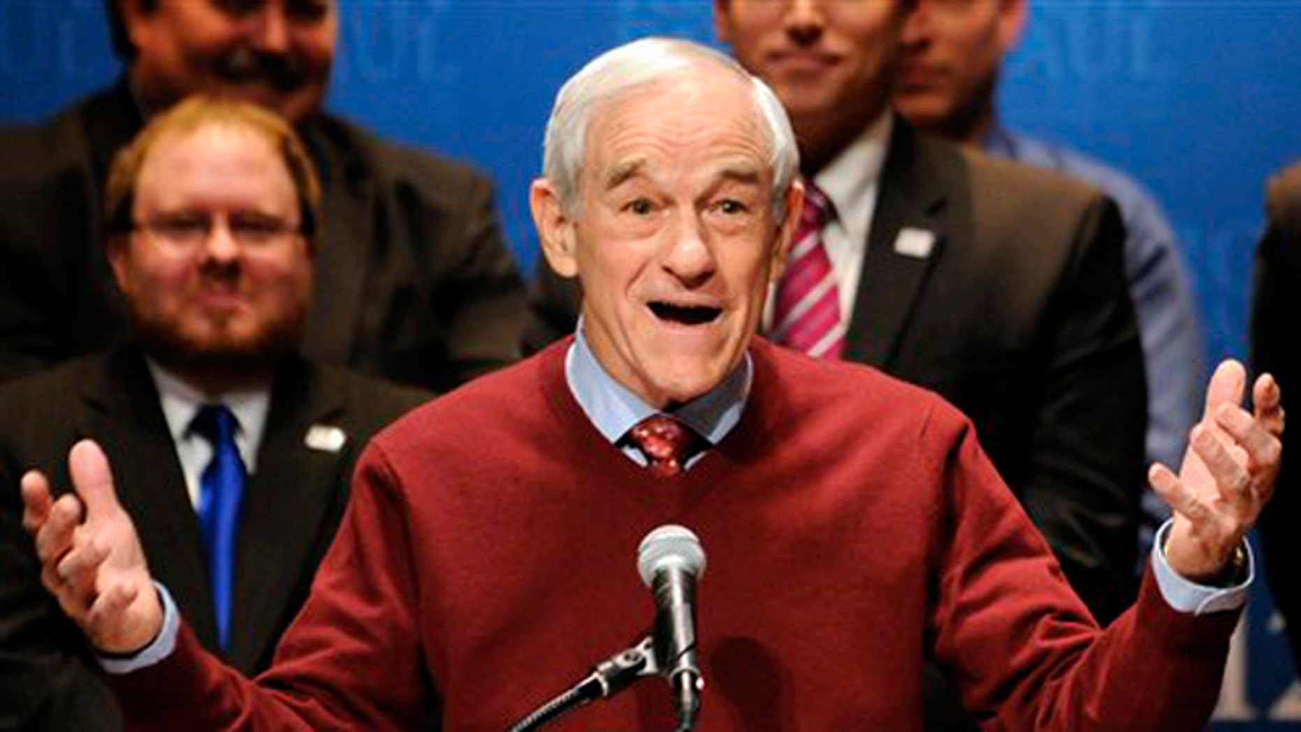 Feb. 7, 2012: Then-Republican presidential candidate Rep. Ron Paul speaks in Golden Valley, Minn.