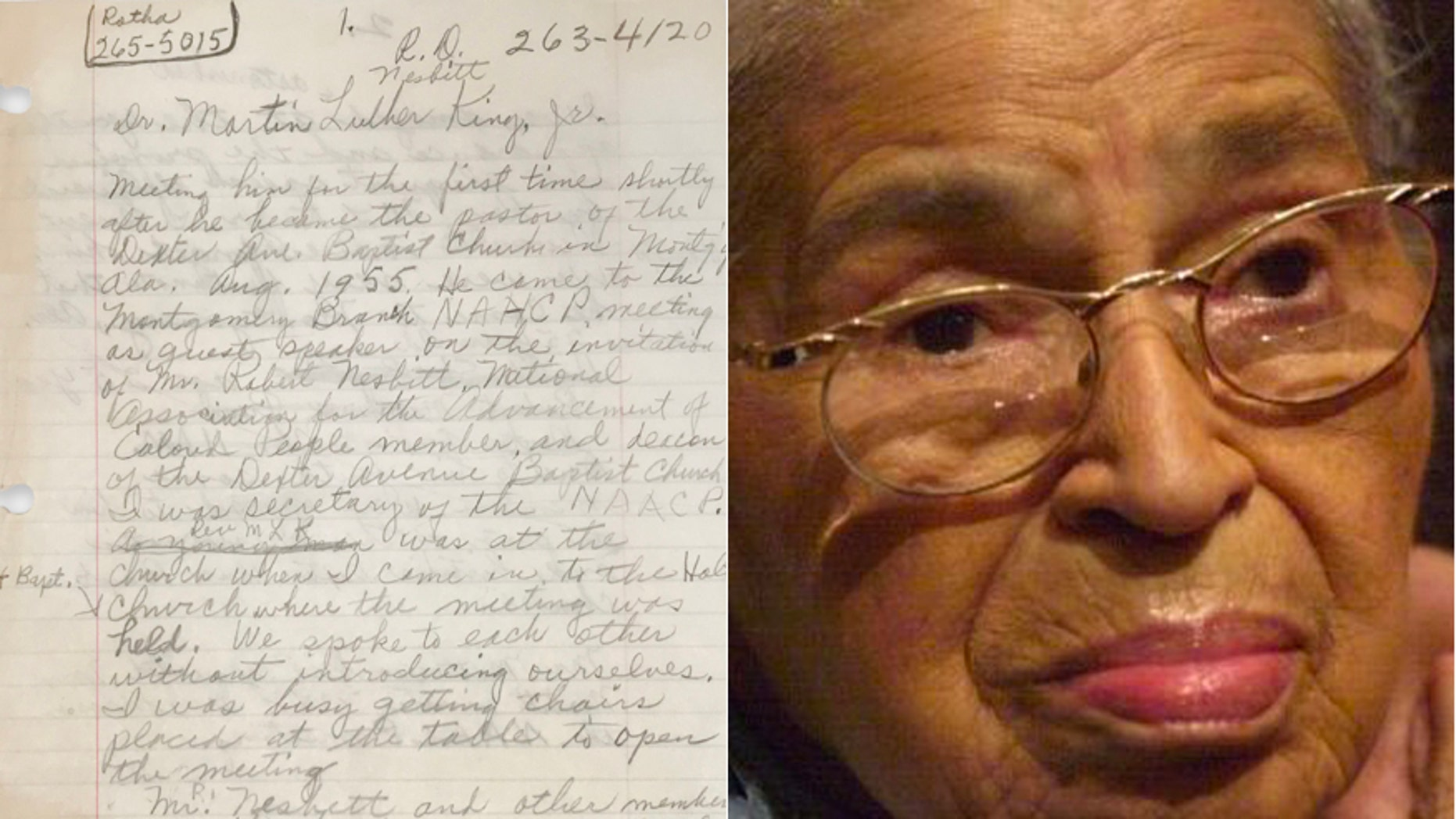Rosa Parks' letter to Dr. Martin Luther King Jr./file photo of Rosa Parks (Guernsey's Auction House/AP)
