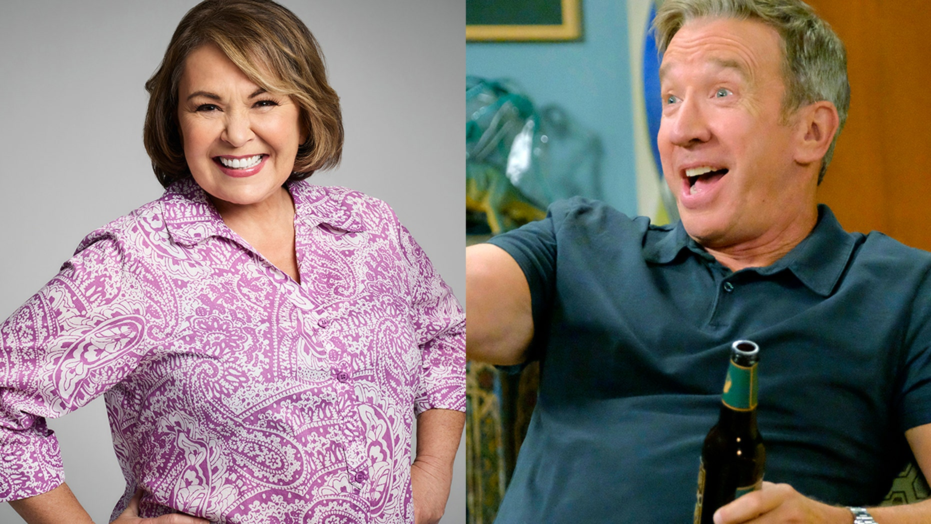 "Roseanne Barr (left) said making her TV counterpart a Trump supporter made sense for the show about a working-class American family. Tim Allen (right) played played Mike Baxter who is also politically conservative on the canceled show ""Last Man Standing."""