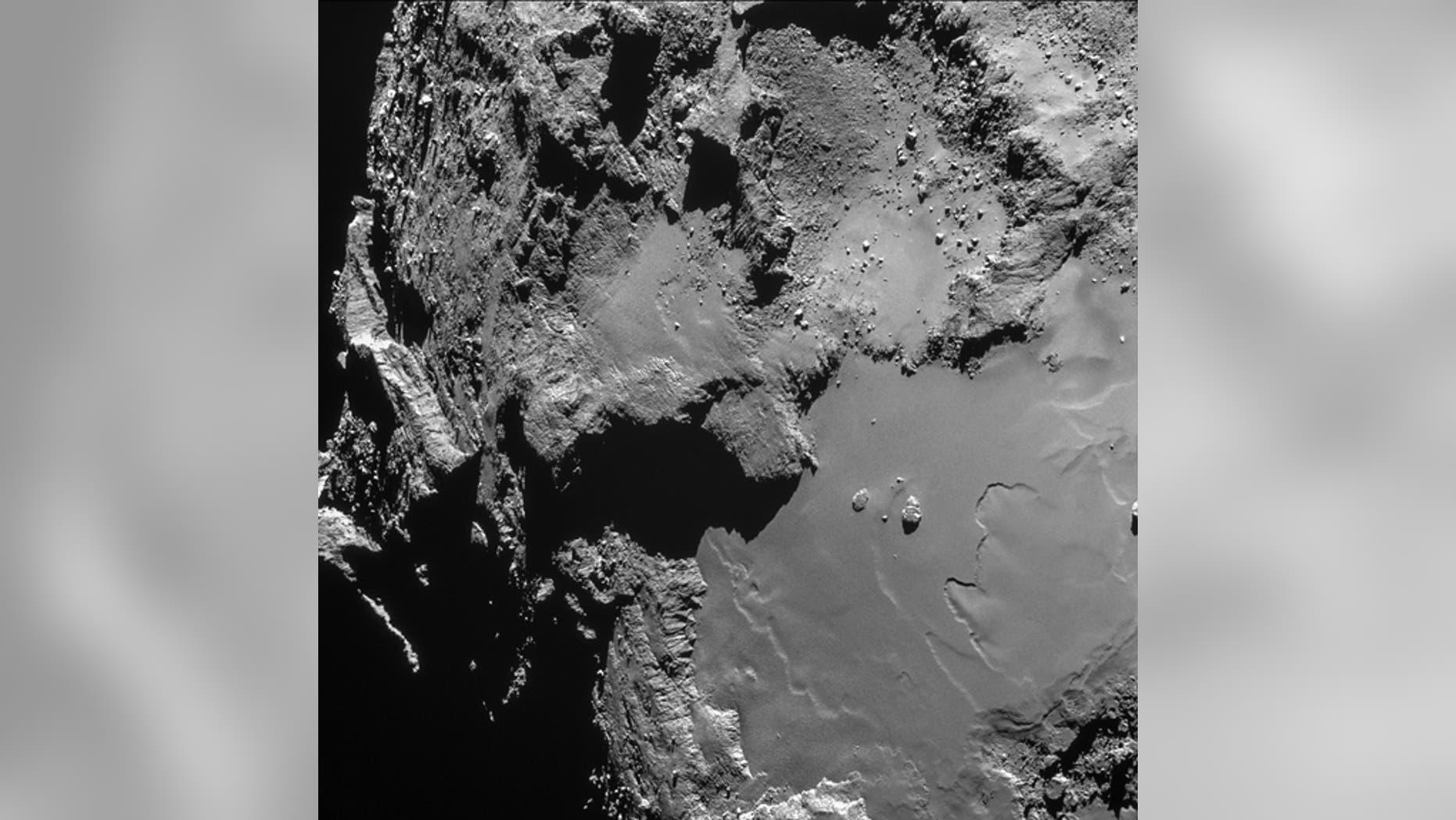An image of Comet 67P/Churyumov-Gerasimenko taken from 9.5 miles above the surface.