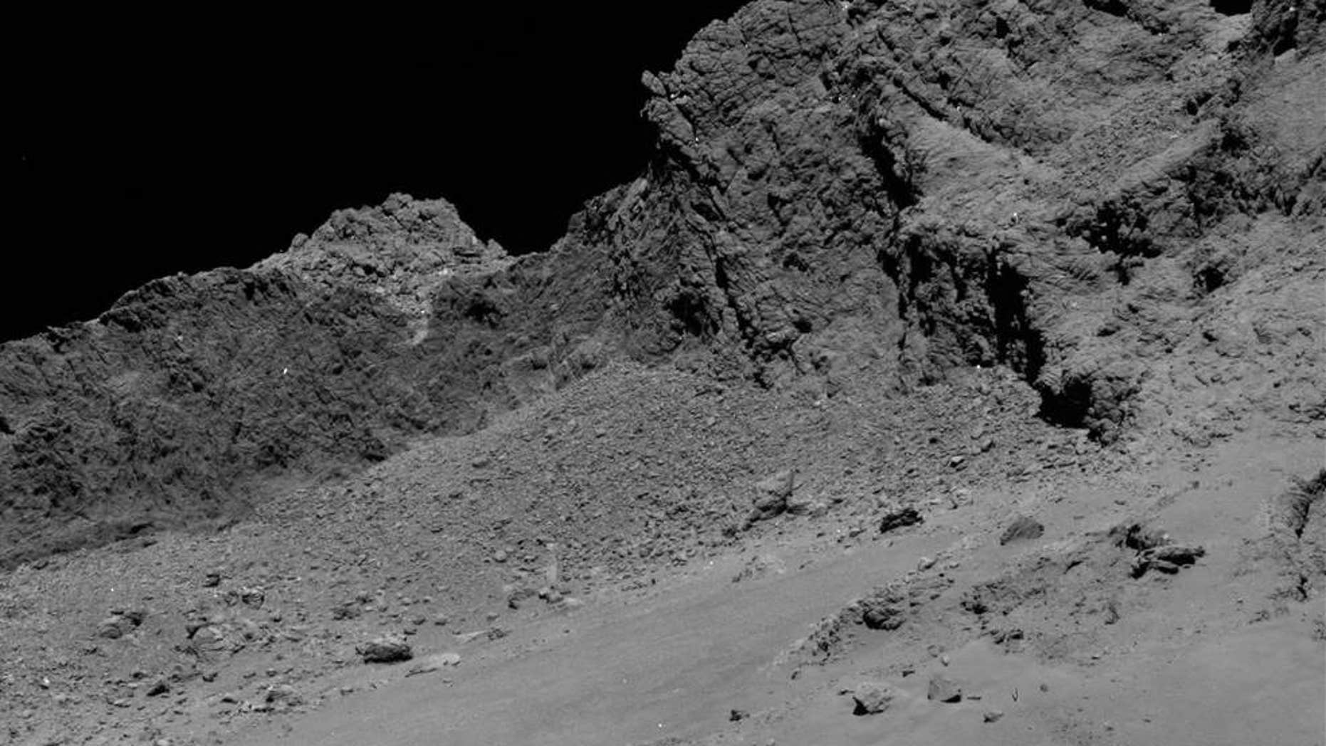 The OSIRIS narrow-angle camera aboard the Space Agency's Rosetta spacecraft captured this image of comet 67P/Churyumov-Gerasimenko on September 30, 2016, from an altitude of about 10 miles above the surface during the spacecraft's controlled descent.
