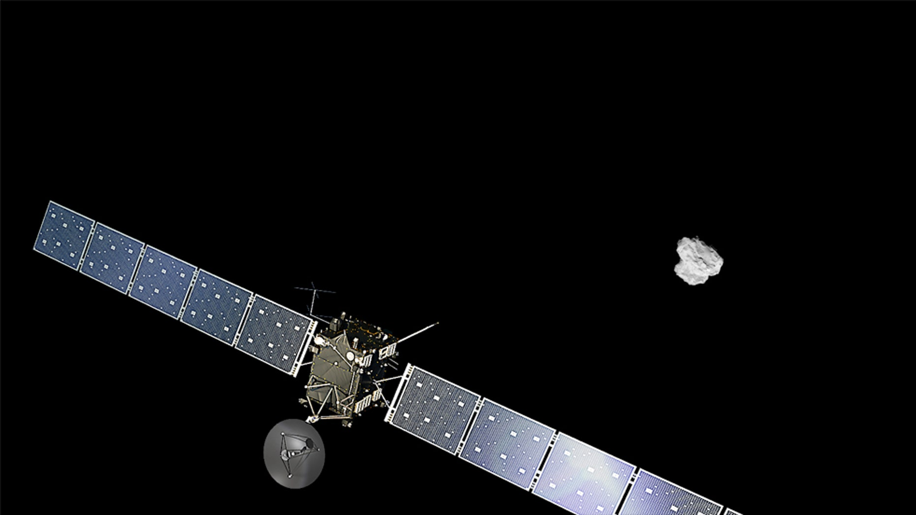 Artist impression of ESA's Rosetta approaching comet 67P/Churyumov-Gerasimenko. The comet image was taken on 2 August 2014 by the spacecraft's navigation camera at a distance of about 500 km. The spacecraft and comet are not to scale. (ESA/ATG medialab; Comet image: ESA/Rosetta/NAVCAM)
