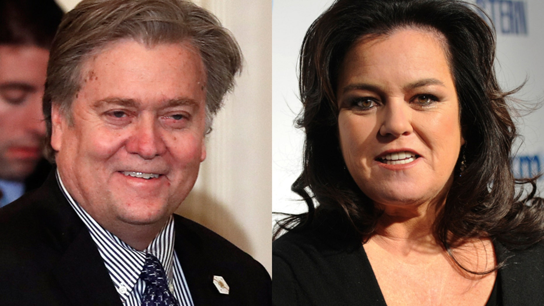 Steve Bannon, chief White House strategist to President Donald Trump, left, and comedian Rosie O'Donnell, right.
