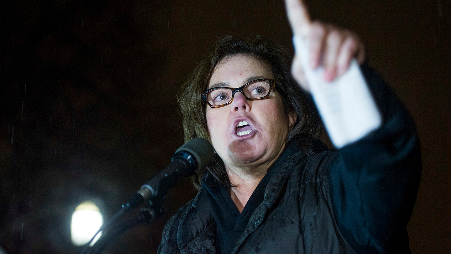 Rosie O'Donnell, here in a 2017 file photo, and cast members from some of Broadway's biggest musicals led a sing-along protest against Trump outside the White House on Aug. 6, 2018.