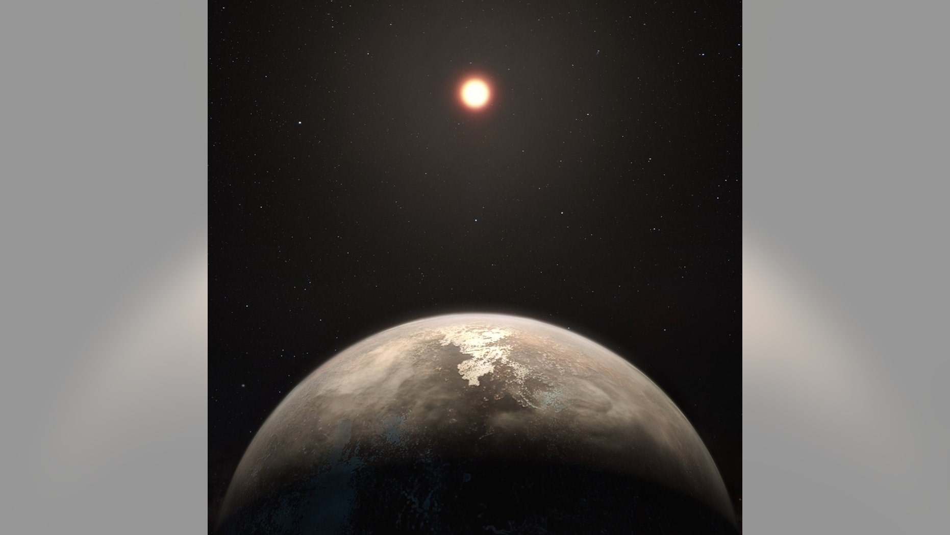 An artist's impression of the temperate planet Ross 128 b, with its red dwarf parent star in the background.