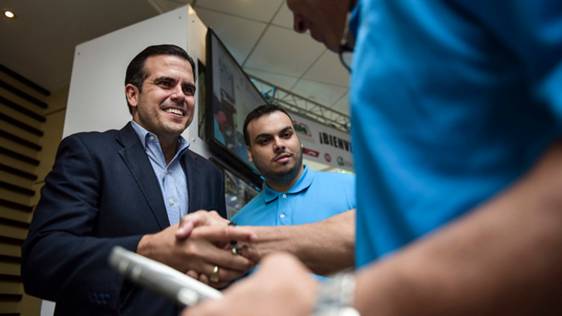 Then gubernatorial candidate Ricardo Rossello on Oct. 29, 2016 in San Juan, Puerto Rico.
