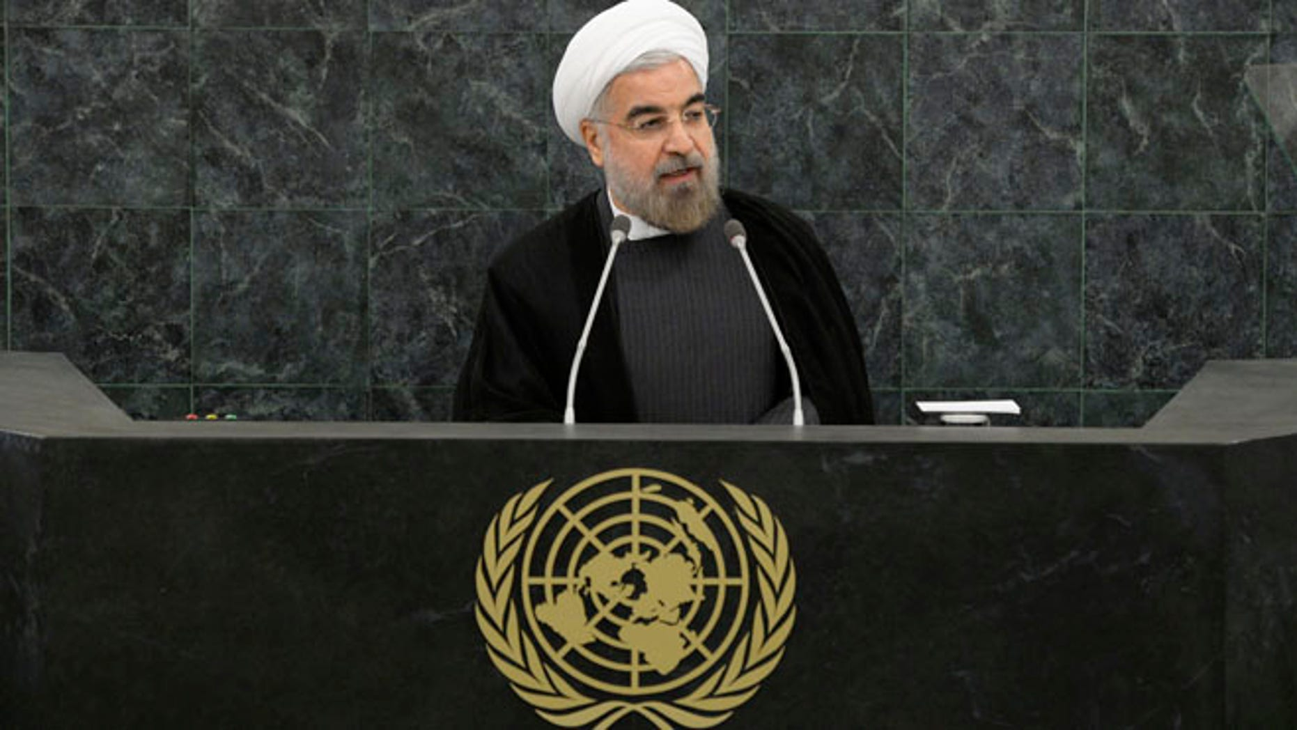 Sept. 26, 2013: Iranian President Hassan Rouhani addresses a High-Level Meeting on Nuclear Disarmament during the 68th United Nations General Assembly at U.N. headquarters in New York.