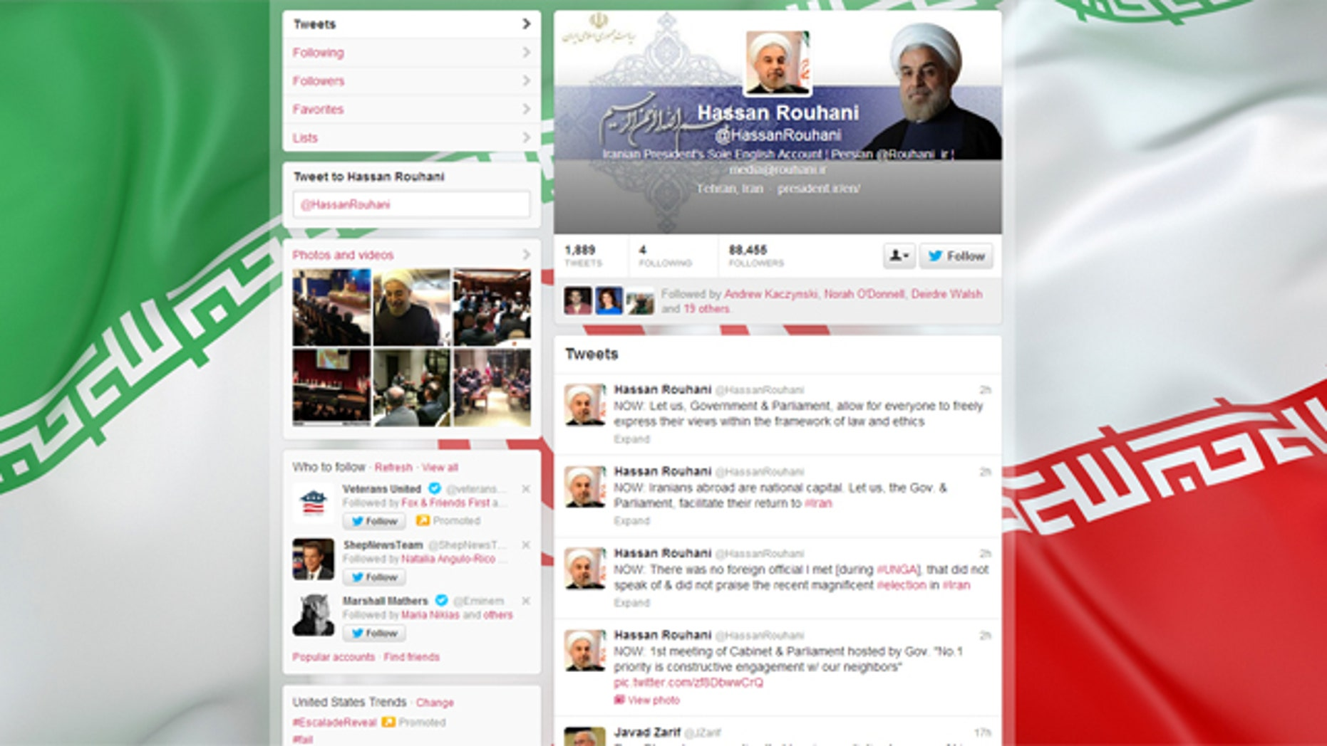 Oct. 1, 2013: The Twitter feed of Iranian President Hassan Rouhani.