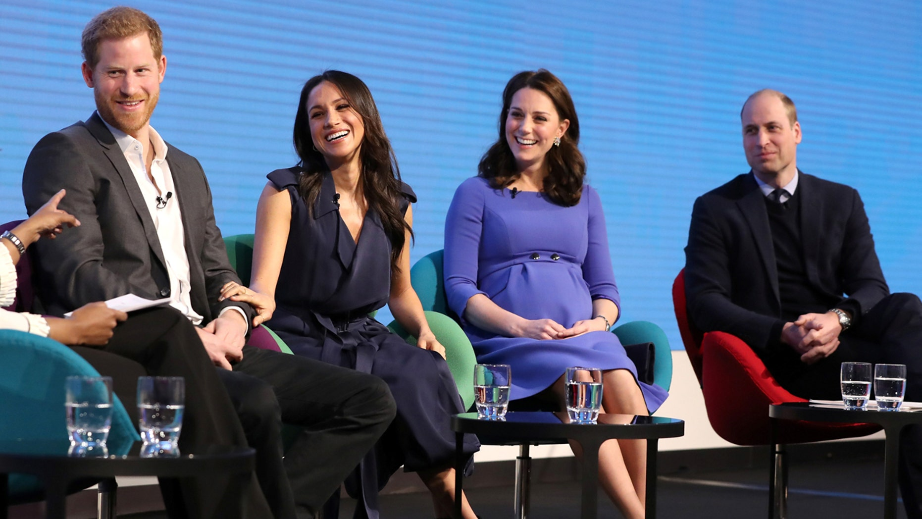 Britain's Prince Harry, his fiancee Meghan Markle, Prince William and Catherine, Duchess of Cambridge attend the first annual Royal Foundation Forum held at Aviva in London, February 28, 2018 .