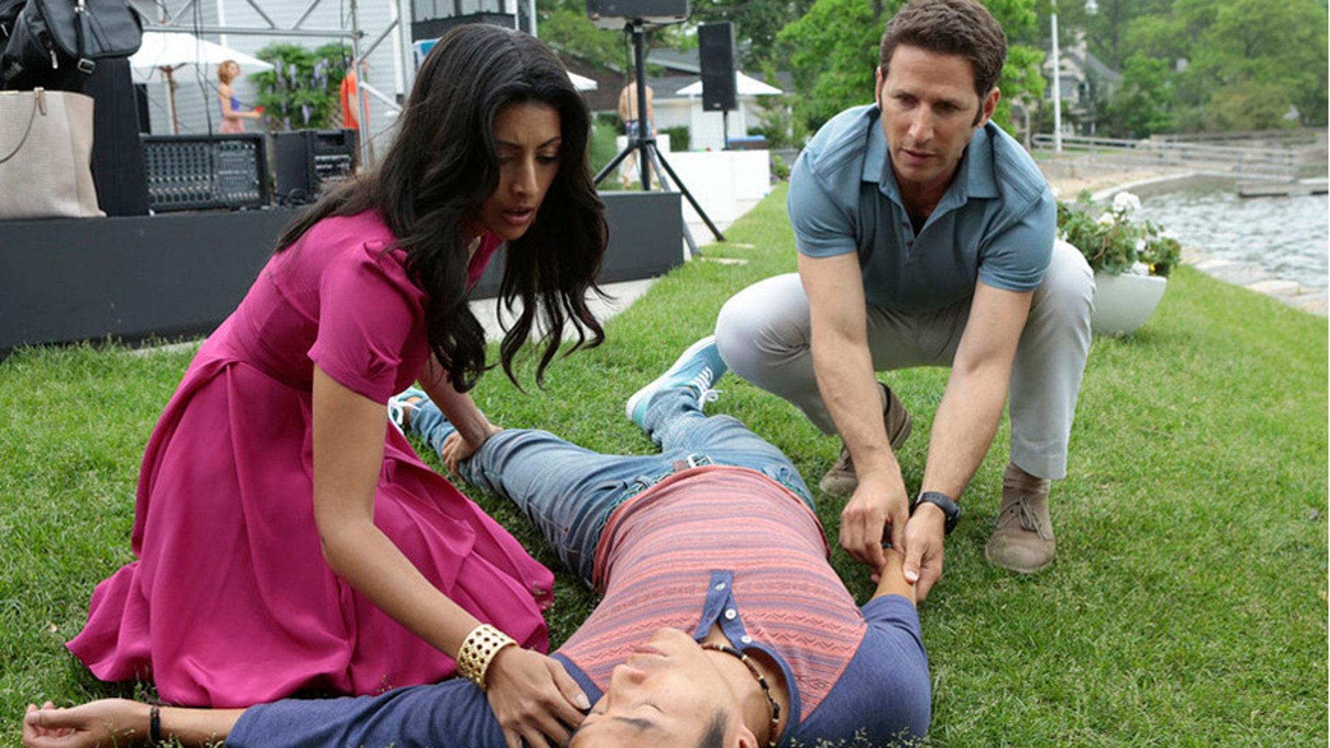 "(L-r) Reshma Shetty as Divya Katdare, Leonardo Lam as Billy, Mark Feuerstein as Dr. Hank Lawson in ""Royal Pains."""