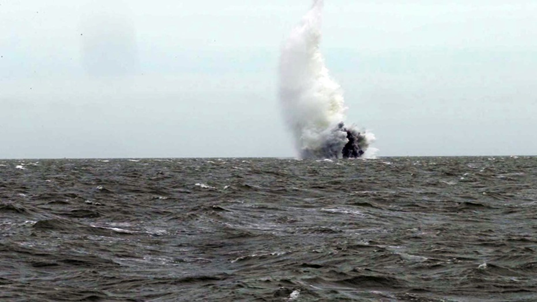 Royal Navy bomb disposal experts have detonated the World War II bomb that was recently discovered in the River Thames (Royal Navy/Ministry of Defence)