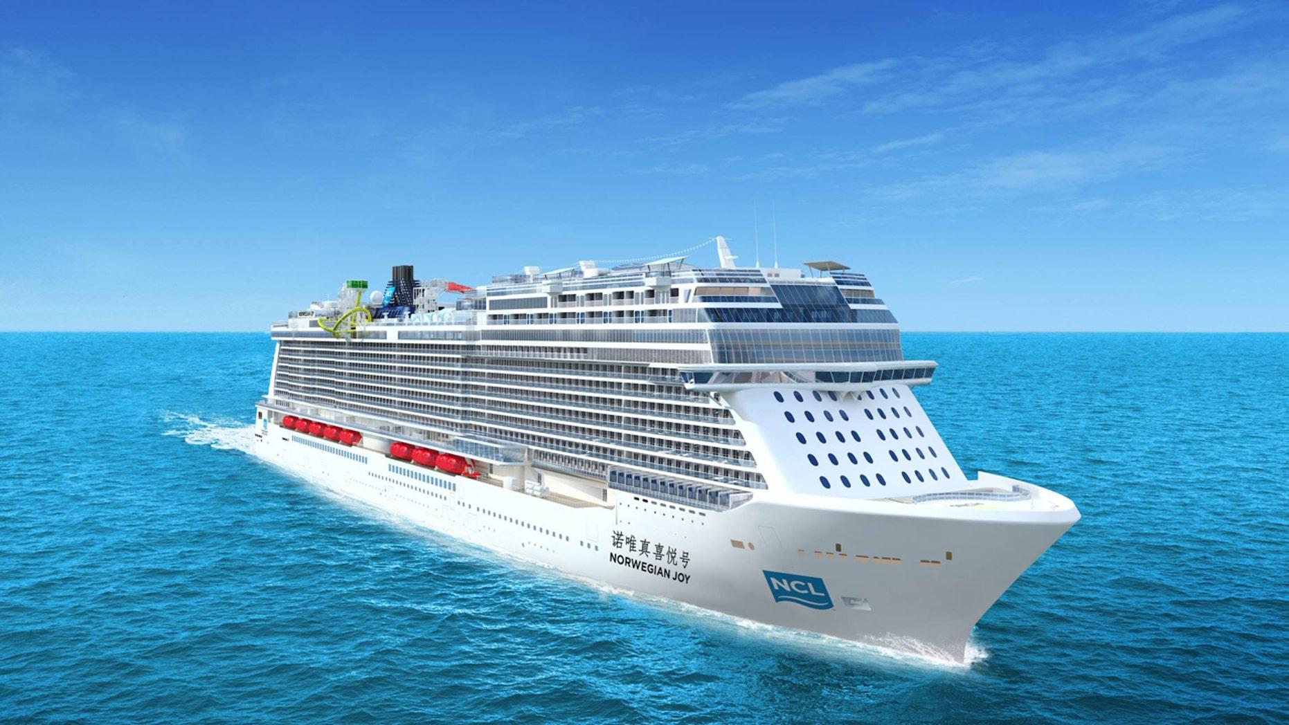 The rendering of the upcoming ocean liner Norwegian Joy.