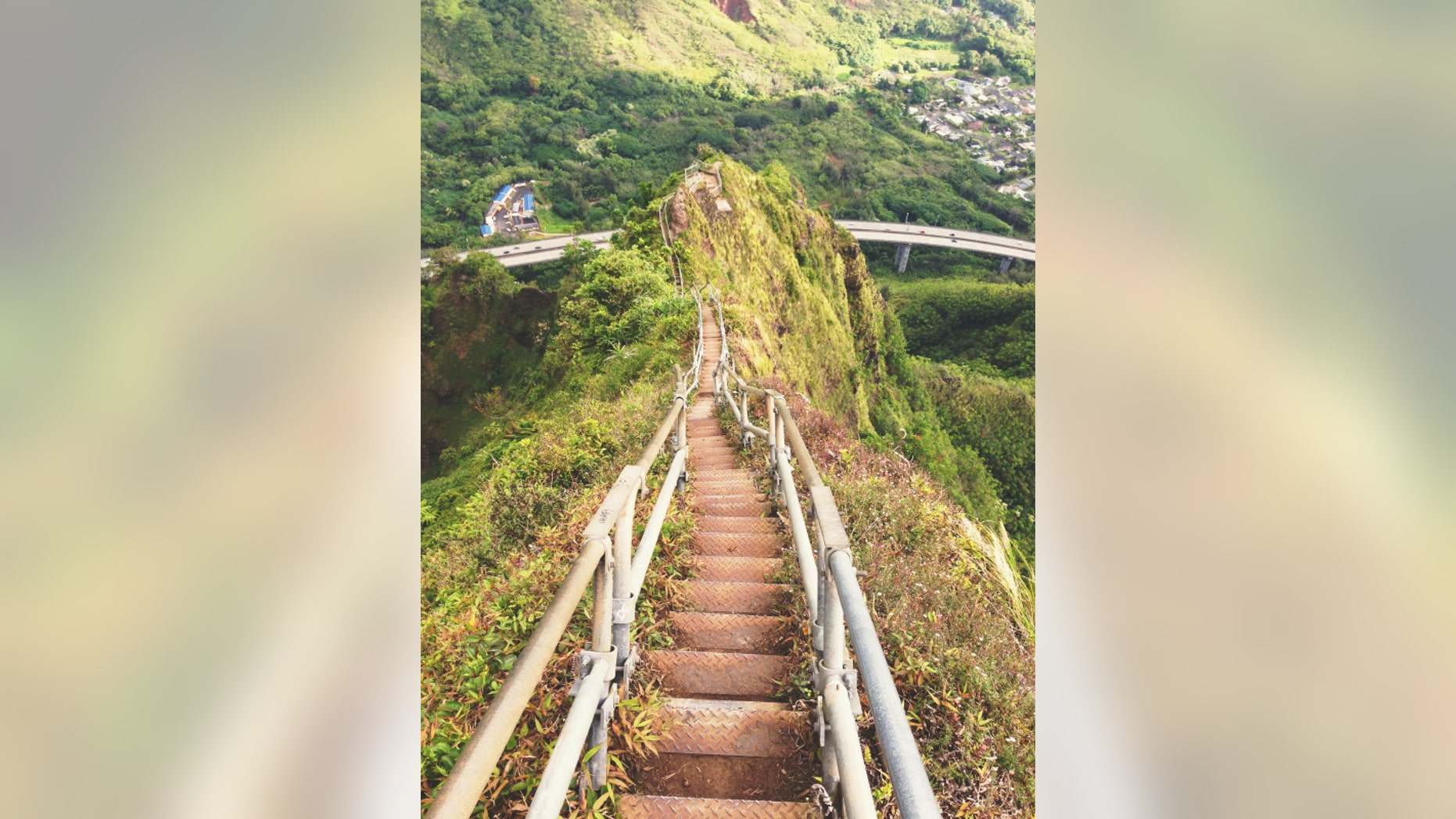 The Haiku Stairs on the Hawaiian island of Oahu are an illegal tourist attraction.