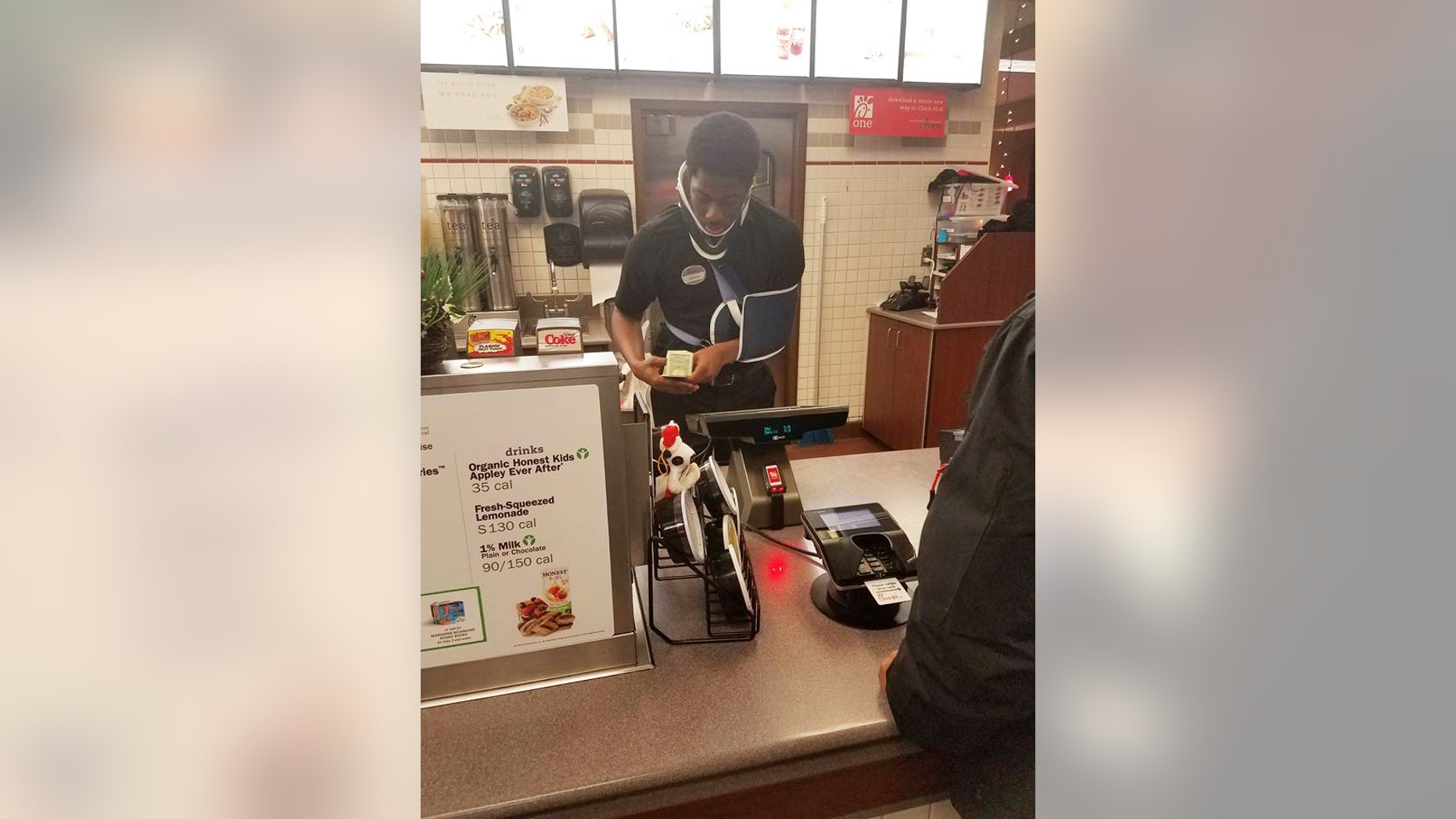 Jakeem Tyler, who was recently injured in a car accident, returned to work at Chick-fil-A because he didn't want to let his fellow workers down.
